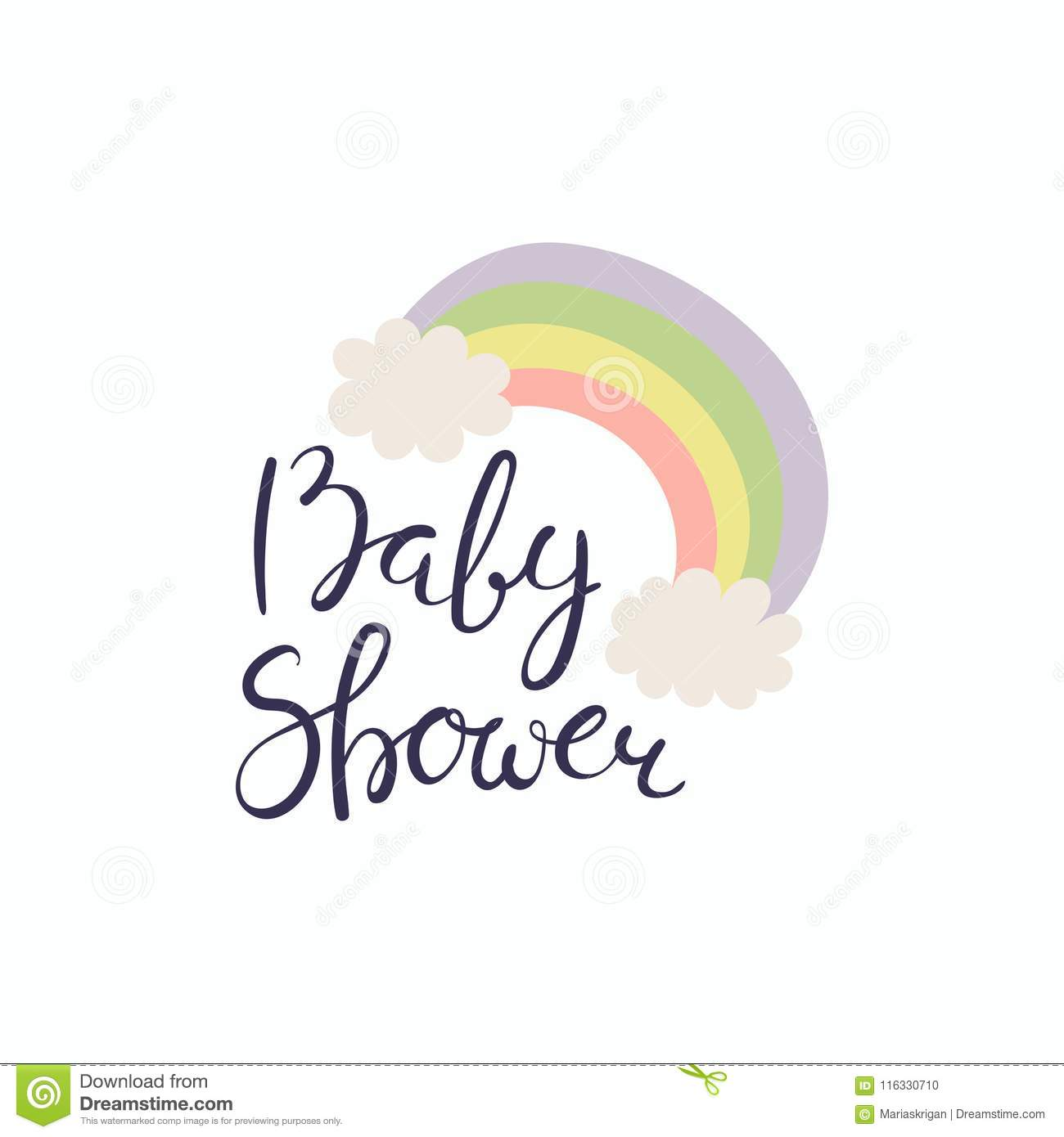 Baby Shower Lettering Quote Stock Vector Illustration Of Girly