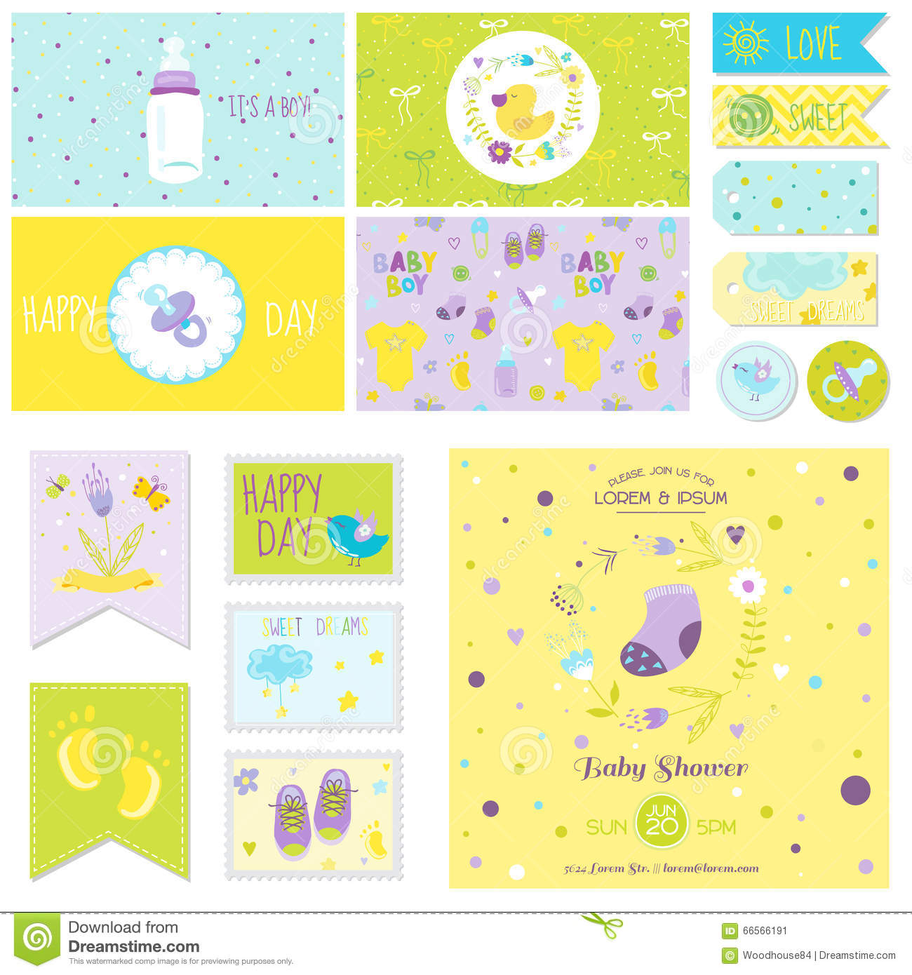 Baby shower little boy set stock photo image 66566191 for Baby shower decoration set