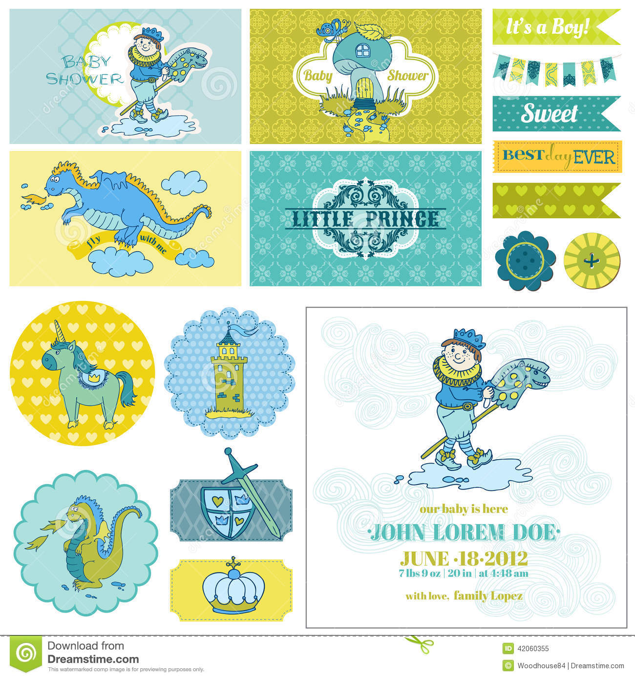 Baby Shower Little Prince Boy Set