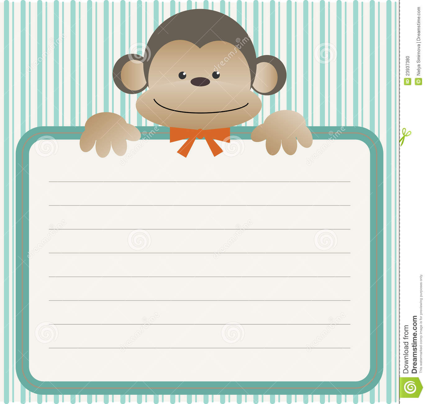 Baby shower with monkey stock vector image of invitation 23937380 - Baby shower monkey pictures ...