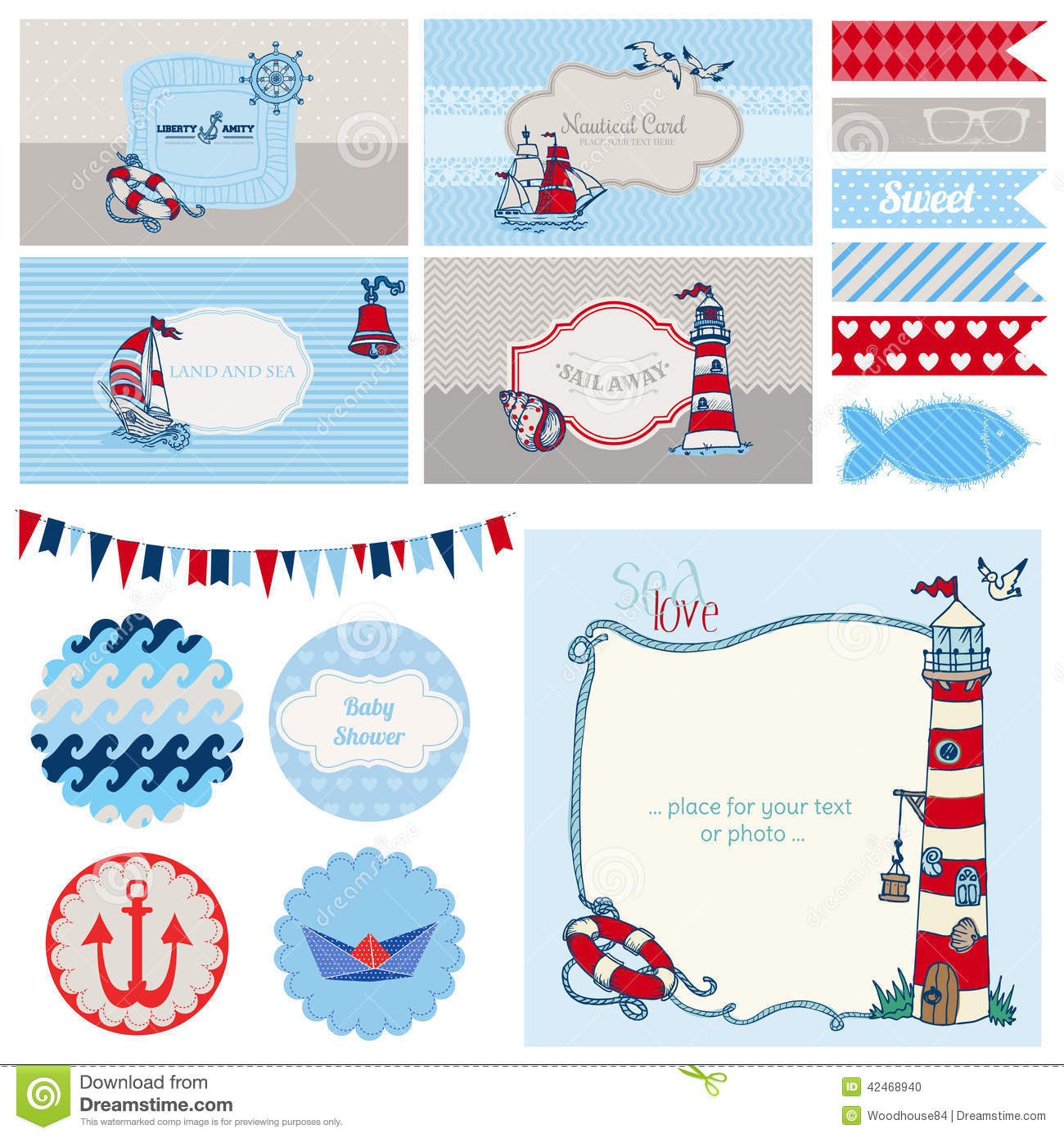 Baby shower nautical set for party decoration scrapbook baby