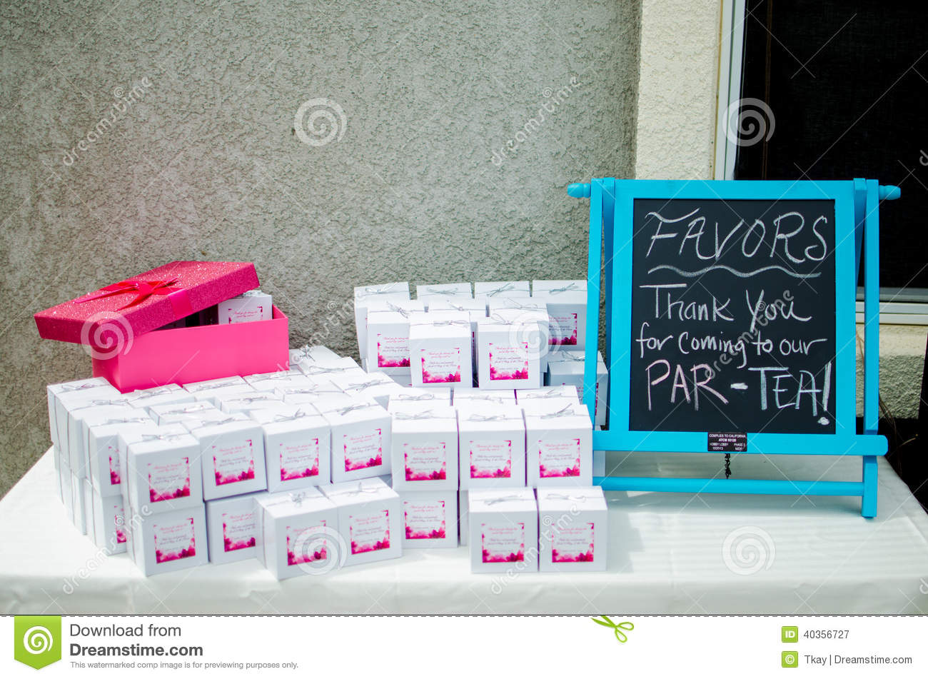 Baby Shower Party Favors D On Table Stock Image