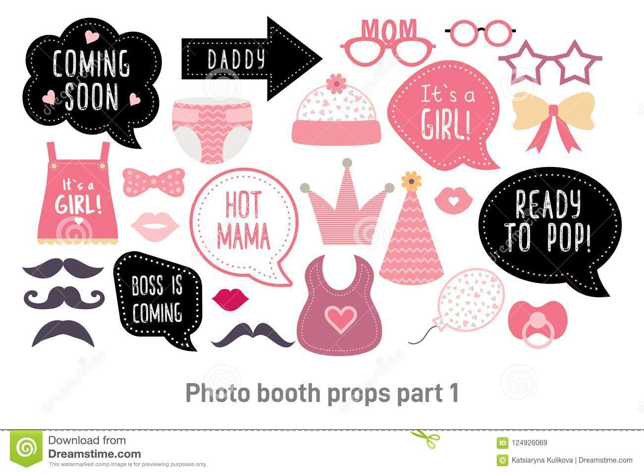 Baby Shower Photo Booth Photobooth Props Set Stock Vector