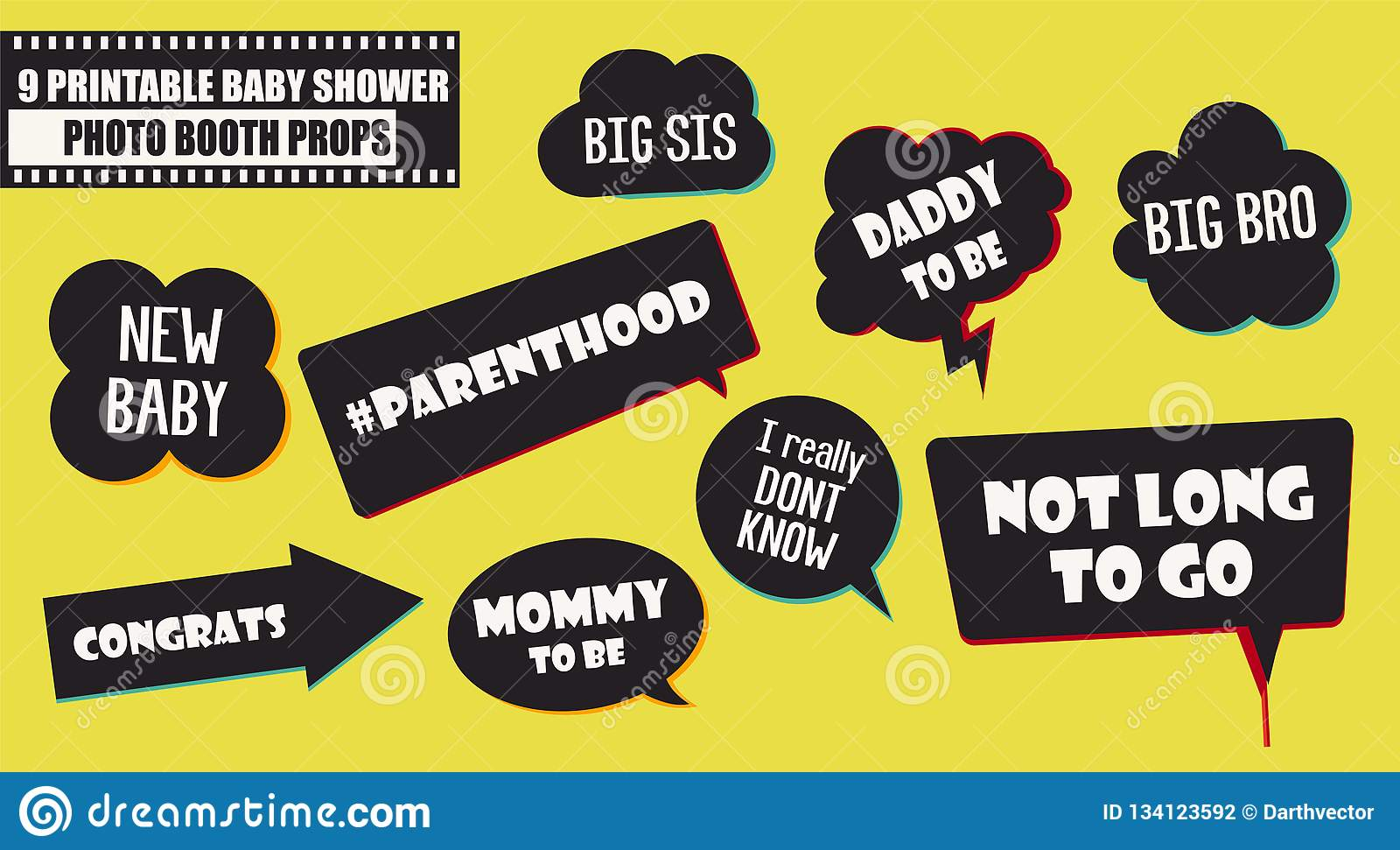 Baby shower photo booth props vector elements