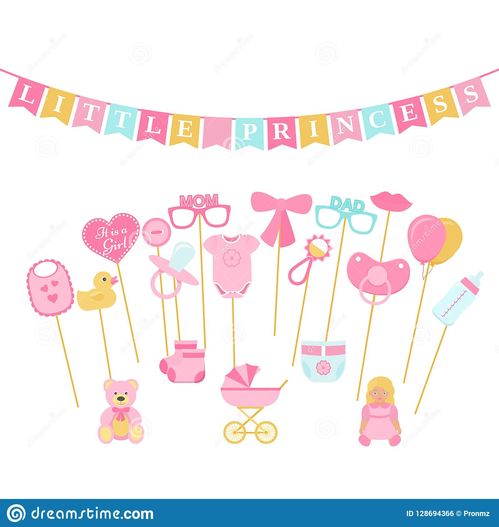 Baby Shower Photo Booth Props Vector Illustration Birth Reveal