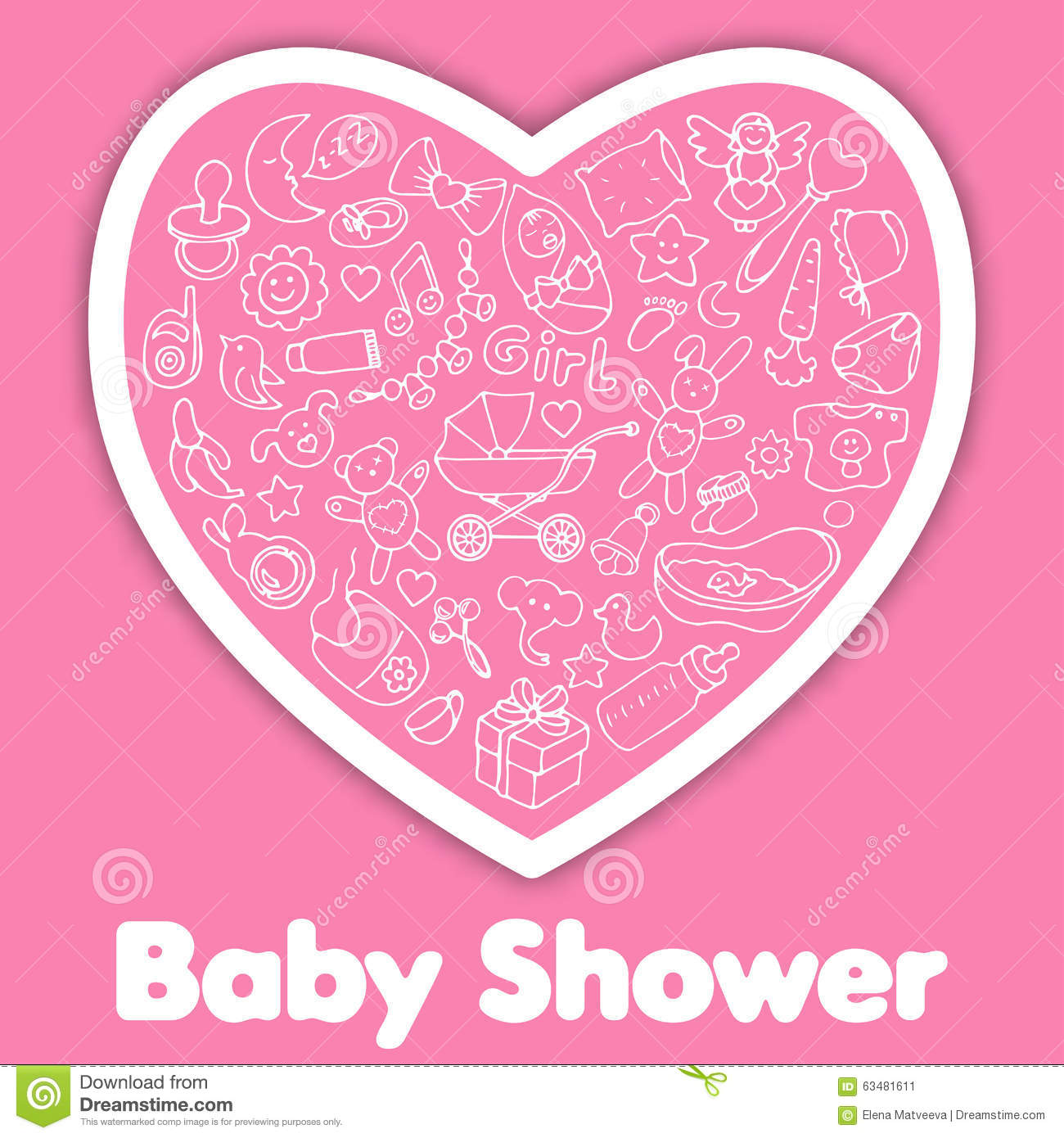 baby shower pink greeting card stock vector image 63481611