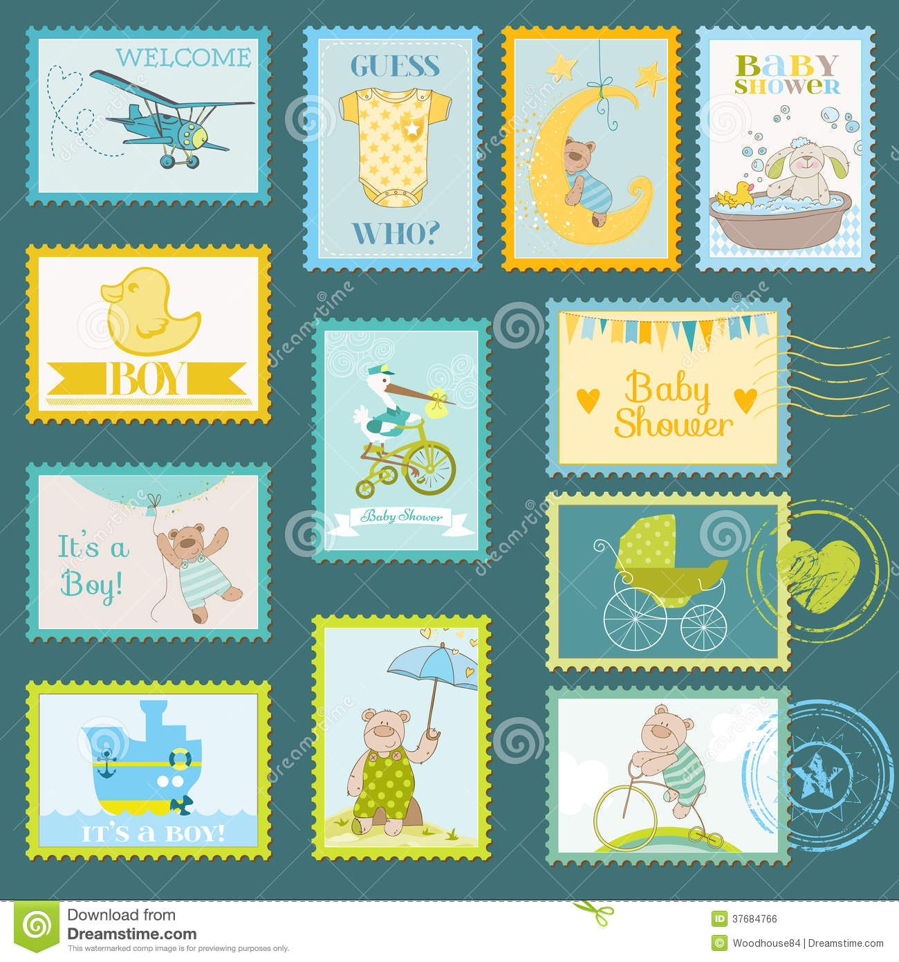 baby shower or arrival postage stamps for design and scrapbook in