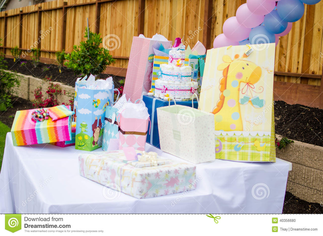 Baby Shower Presents On Table