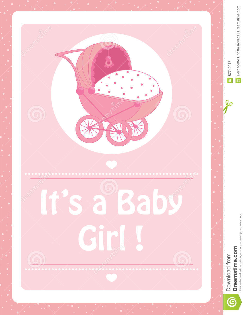 Baby Shower, It`s A Baby Girl Pink Invitation Card,with Baby ...
