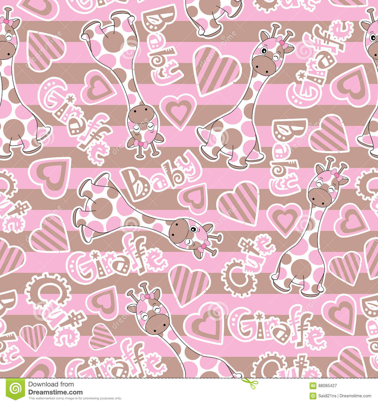 Baby Shower Seamless Pattern With Cute Baby Giraffe On Stripes