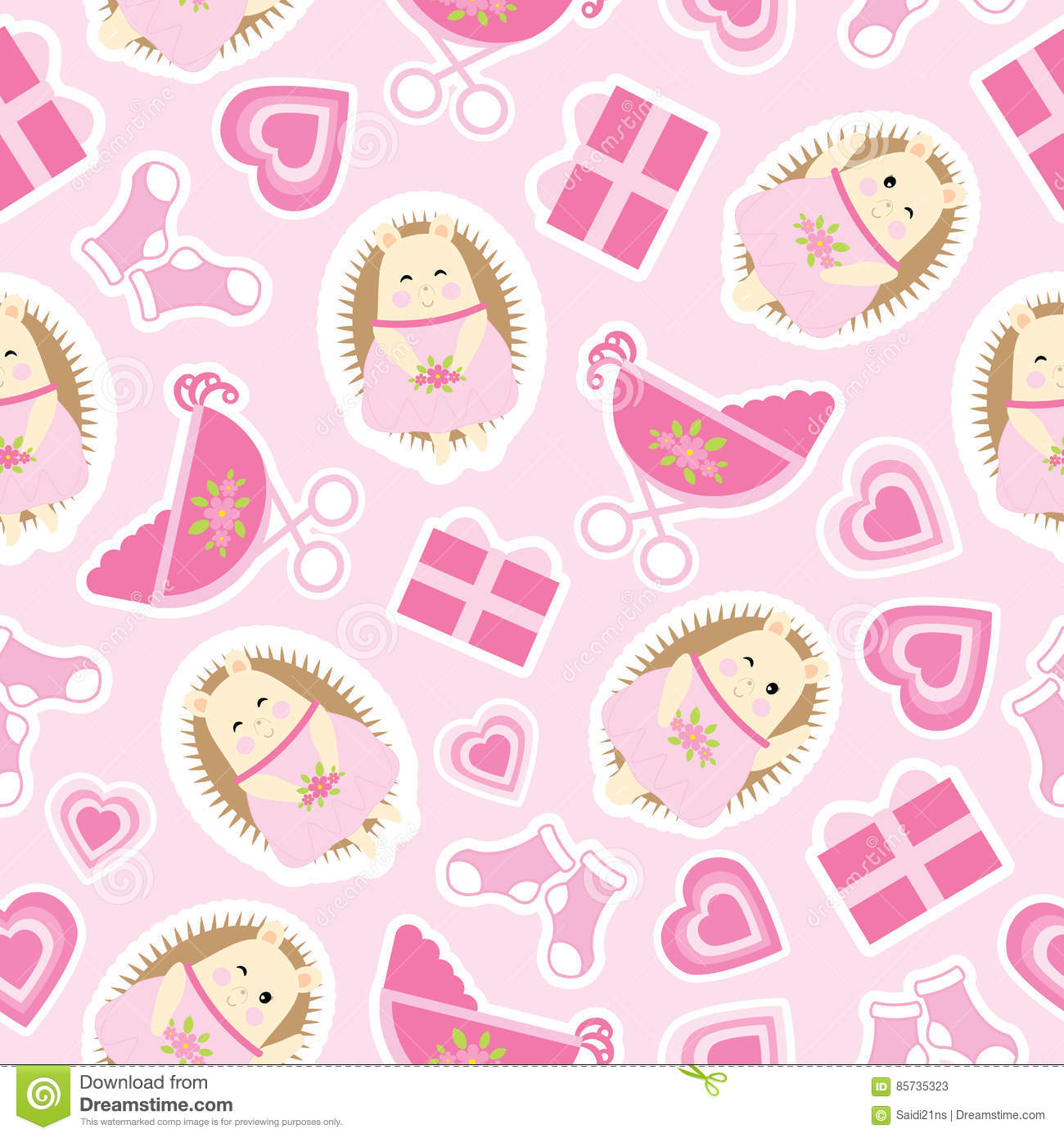 Baby Shower Seamless Pattern With Cute Hedgehog Gifts Baby Cart