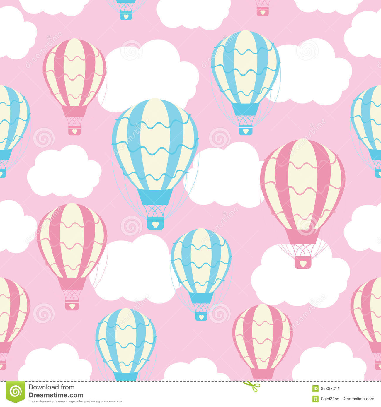 picture about Hot Air Balloon Pattern Printable titled Kid Shower Seamless Routine With Lovable Warm Air Balloons Upon