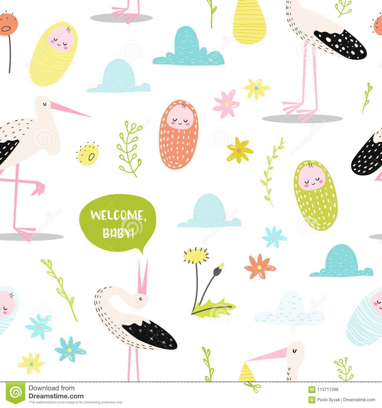 Baby Shower Seamless Pattern With Cute Stork And Newborn Child Baby Background For Decoration Wallpaper Fabric Stock Vector Illustration Of Background Illustration 113711396