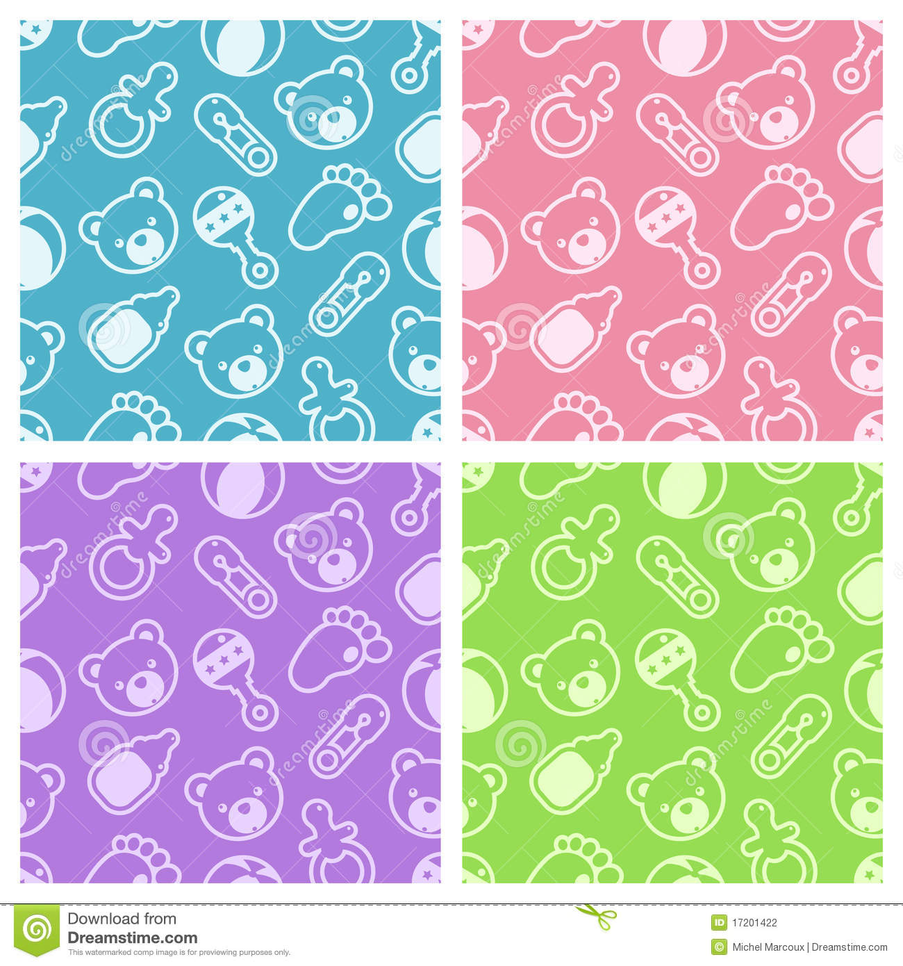 Baby Patterns : Baby Shower Seamless Patterns. Stock Photography - Image: 17201422