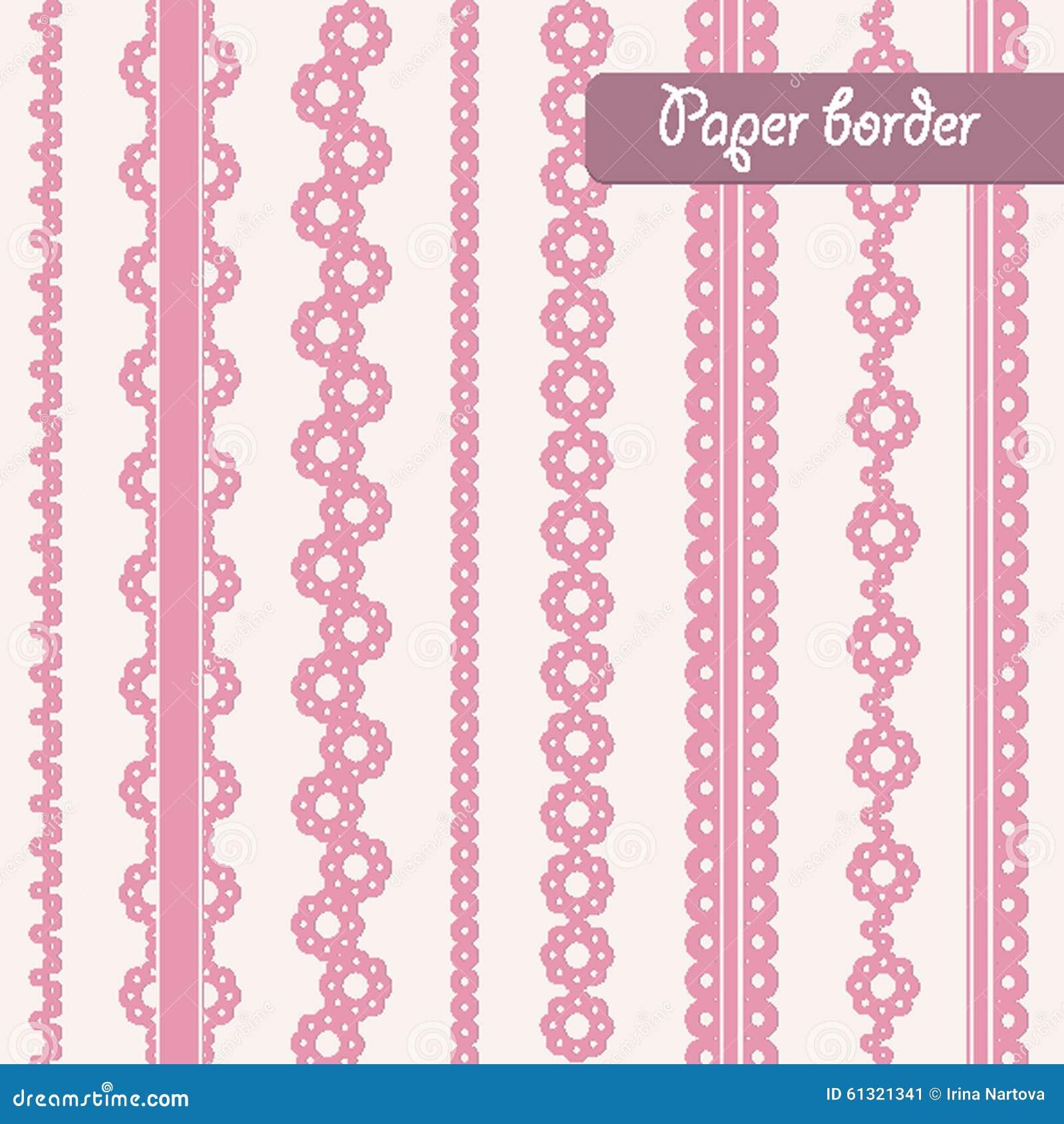 Baby Shower Set Of Border For Girl Stock Vector