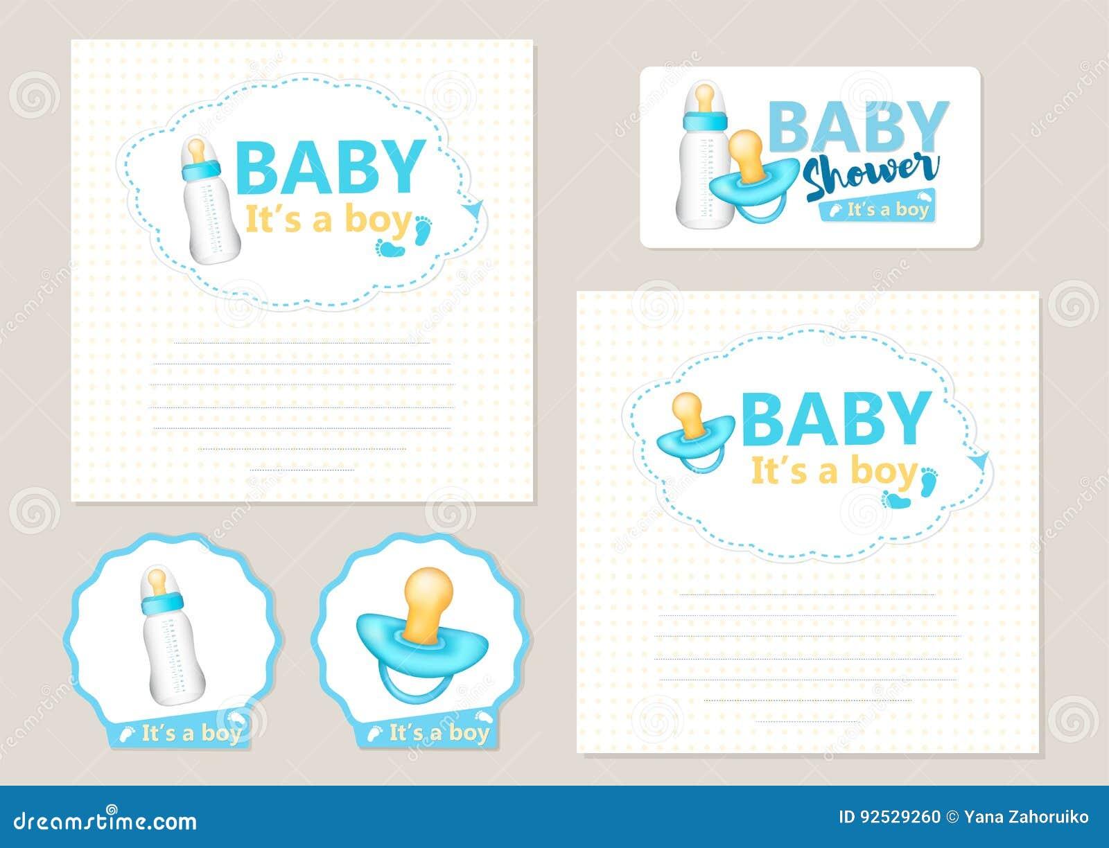 Baby Shower Set Stock Vector Illustration Of Celebration 92529260
