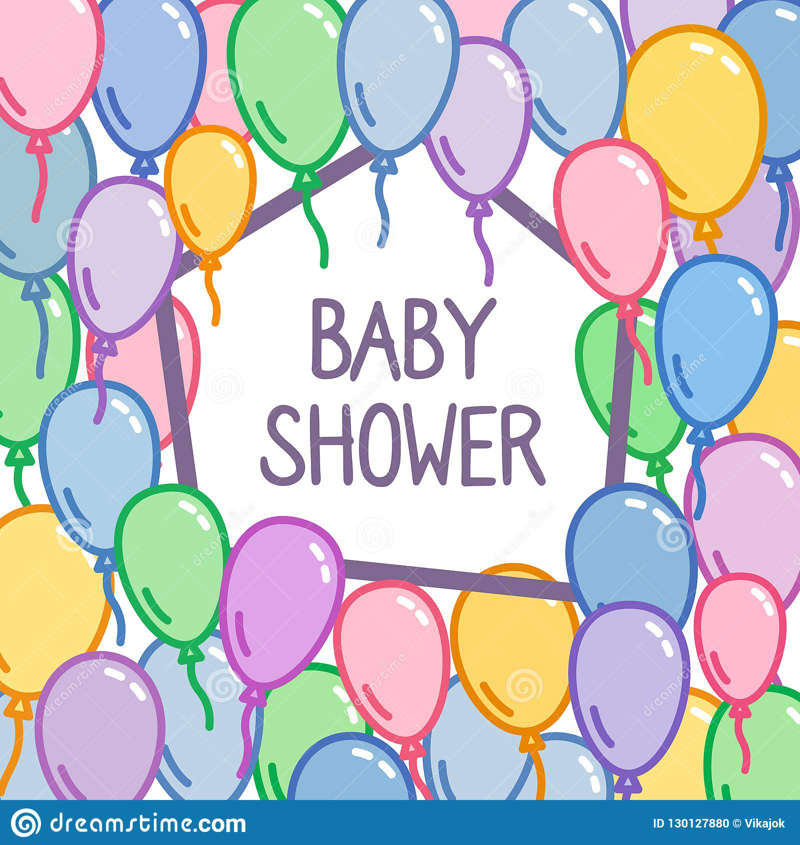 Baby Shower Sign On Colorful Balloon Background Greeting Card