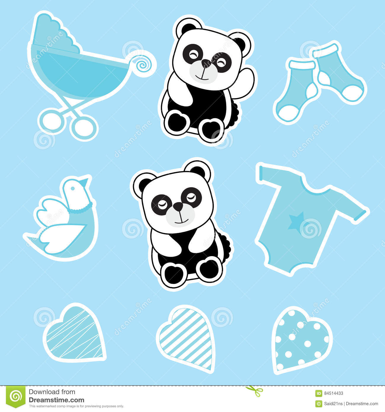 Baby Shower Sticker Set With Baby Panda Baby Cart And Baby Clothes