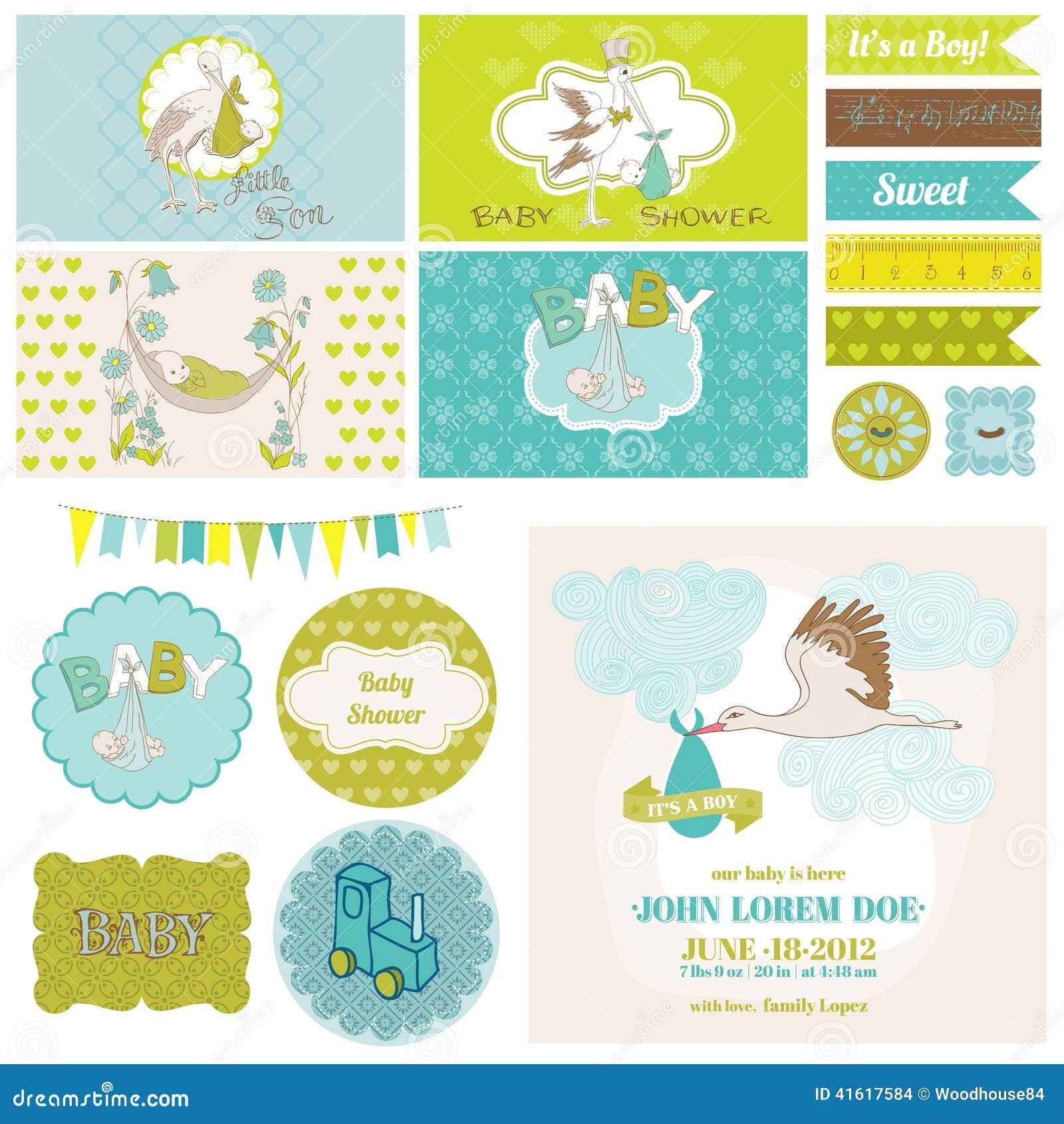 Baby shower stork theme set stock vector image 41617584 for Baby shower stork decoration