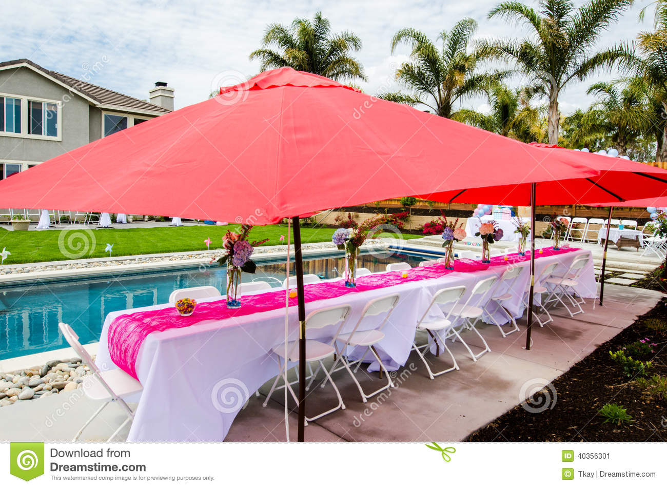 Baby shower table and outdoor decorations Stock Image - Baby Shower Table And Outdoor Decorations Stock Photo - Image
