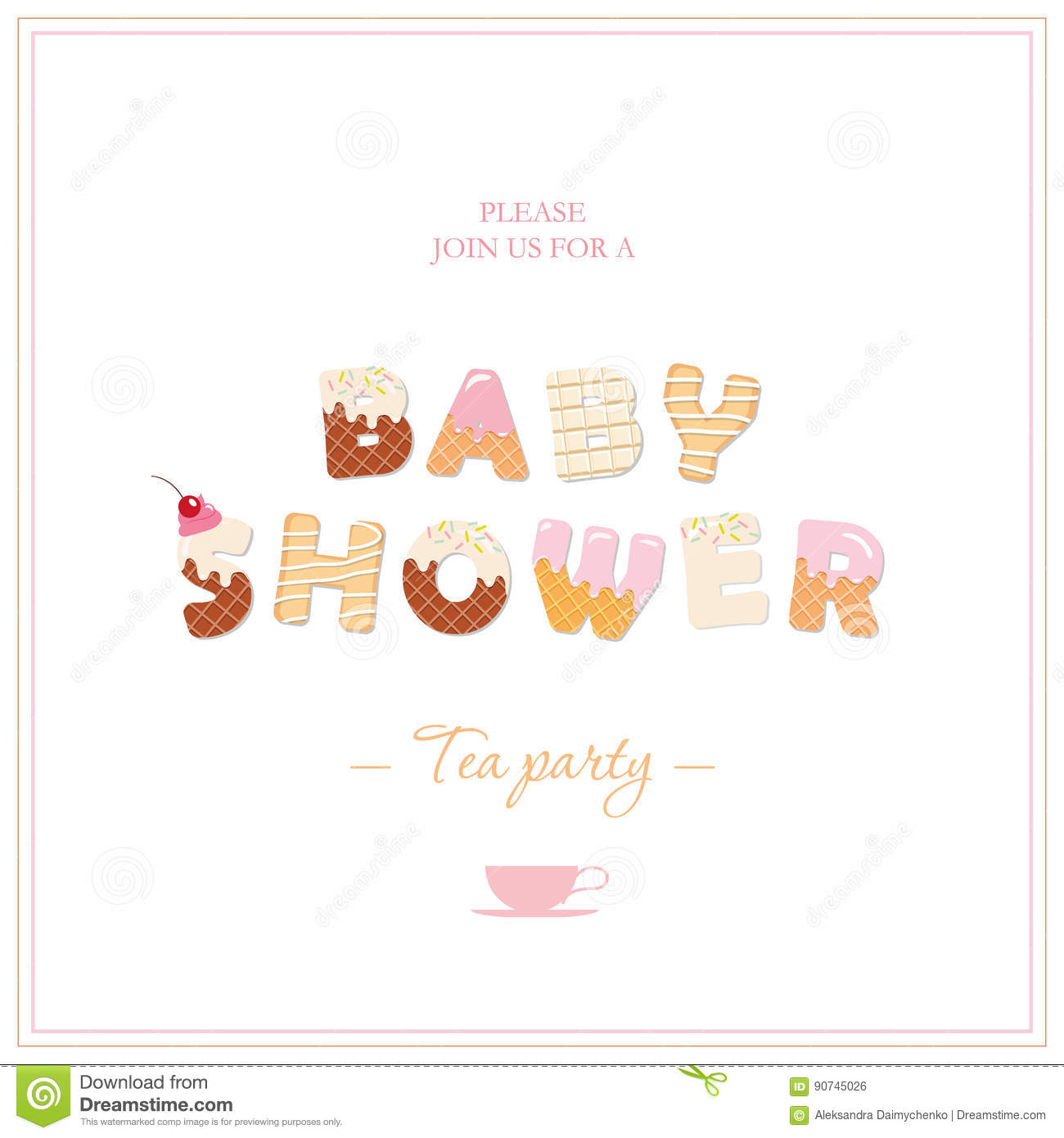 baby shower tea party invitation design sweet decorative letters in pastel pink and beige
