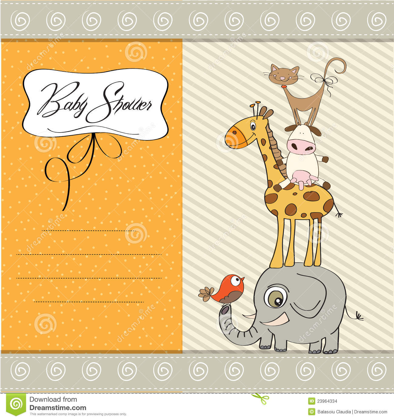 Baby Shower Template Card Stock Images - Image: 23964334