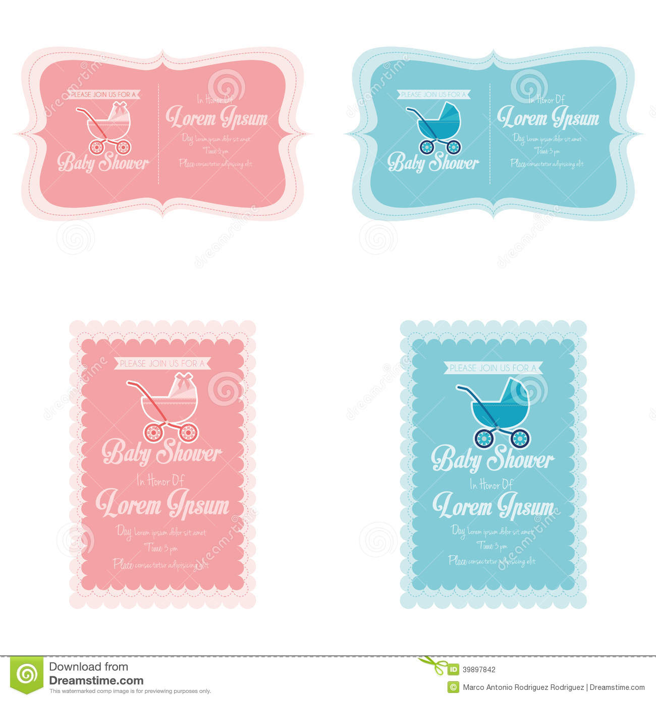 baby shower place cards template - baby shower template cards illustration editable stock