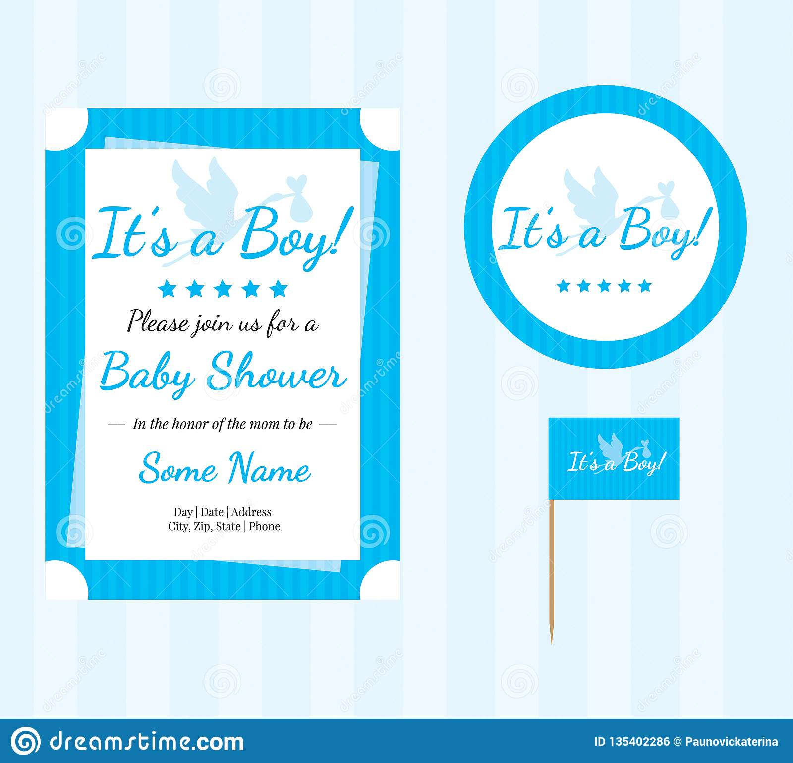 Baby showeruppsättning, baby showertillförsel, baby showerpojke