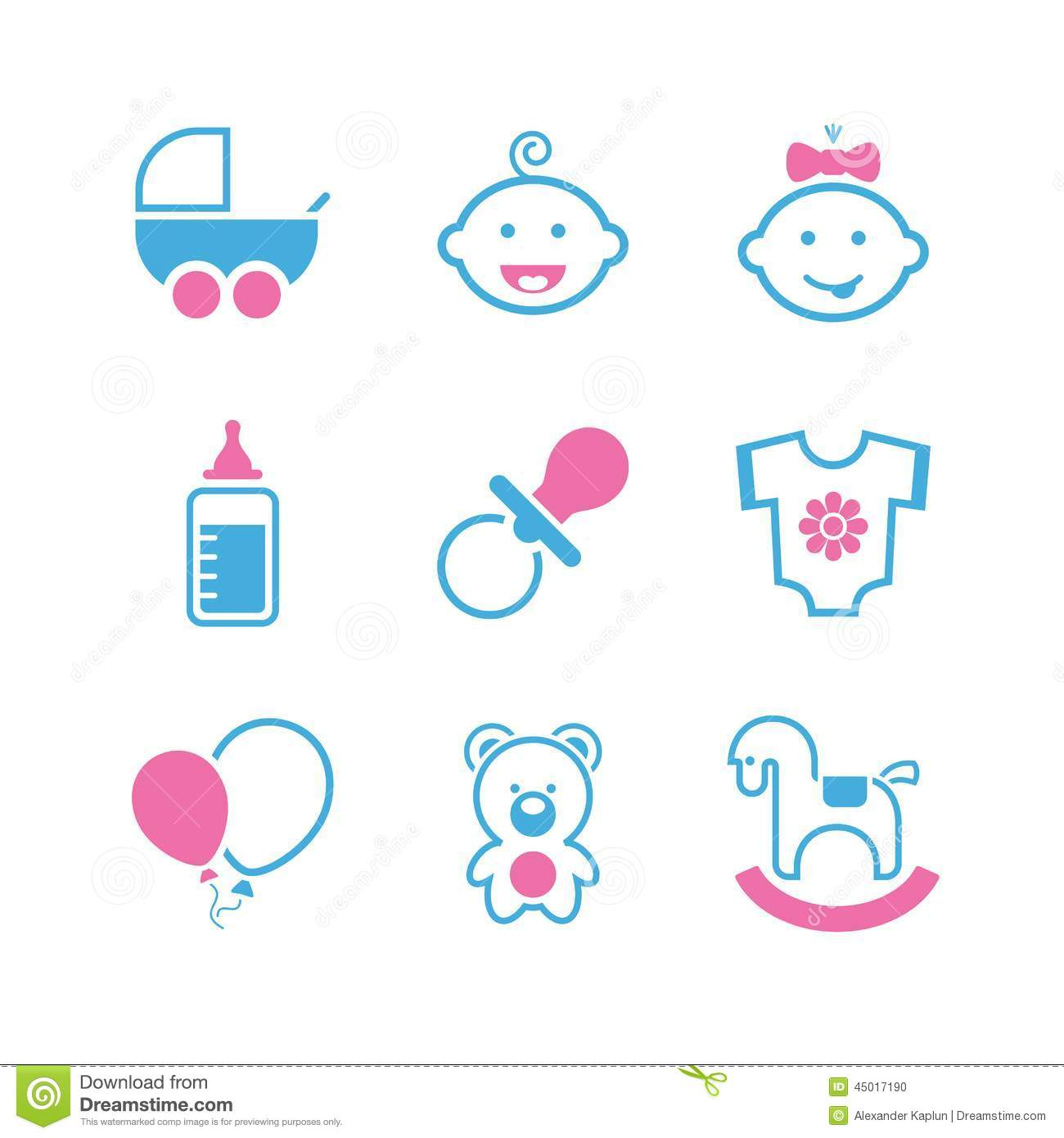 ... , pram, dummy, bottle, romper suit, balloon, bear cub and toy horse
