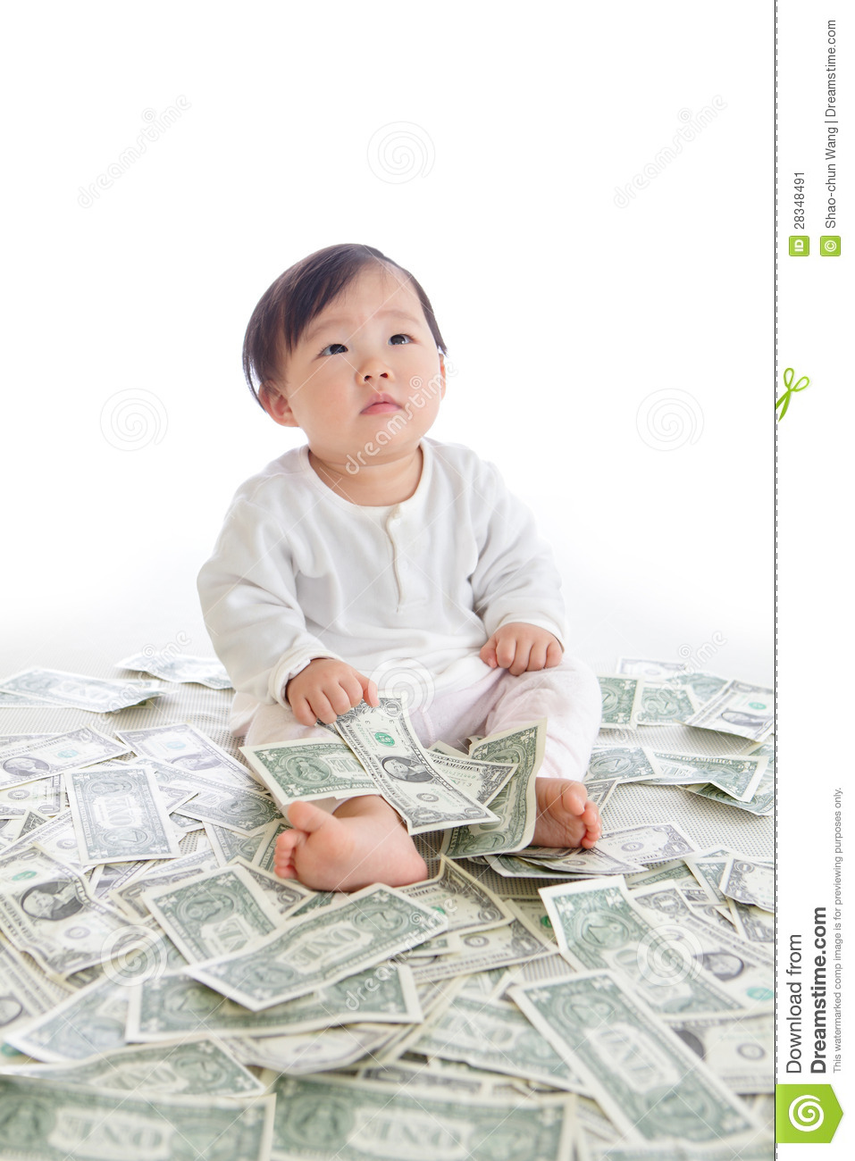 baby sit on floor with many money stock image image 28348491. Black Bedroom Furniture Sets. Home Design Ideas