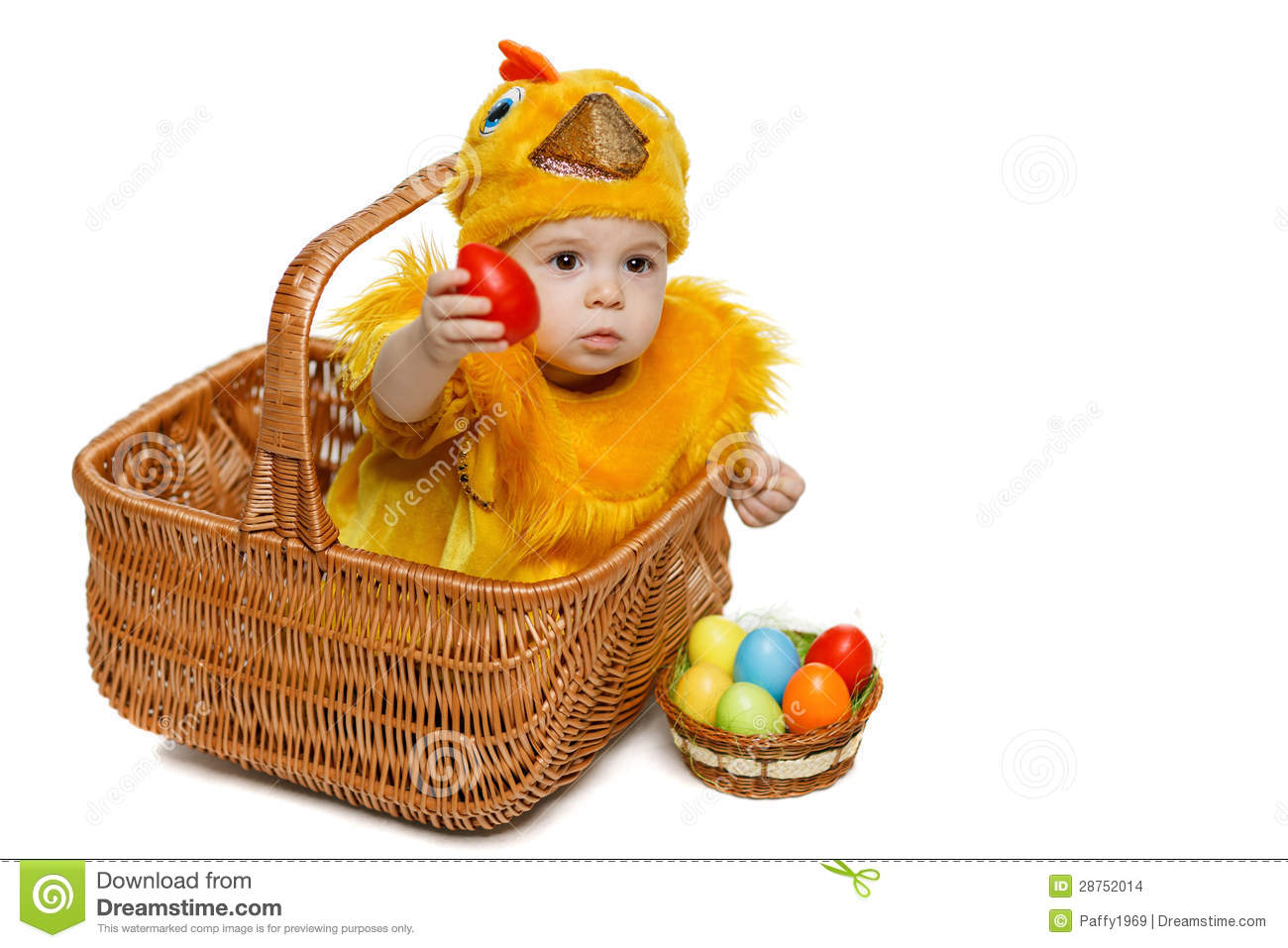 Baby sitting in Easter basket in chicken costume with Easter eggs  sc 1 st  Dreamstime.com & Baby Sitting In Easter Basket In Chicken Costume With Easter Eggs ...