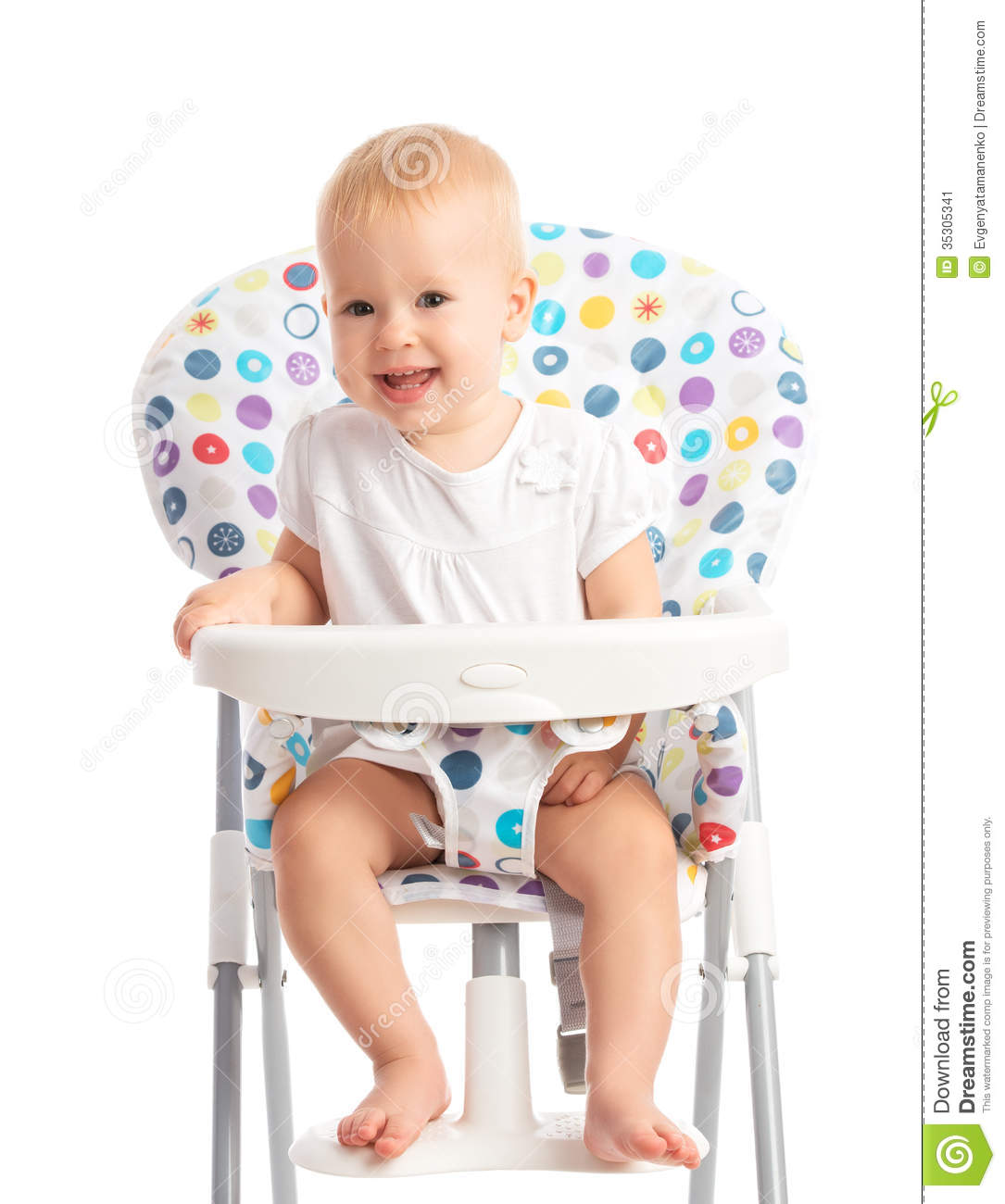 Baby sitting in a high chair isolated stock image image for Toddler sitting chair