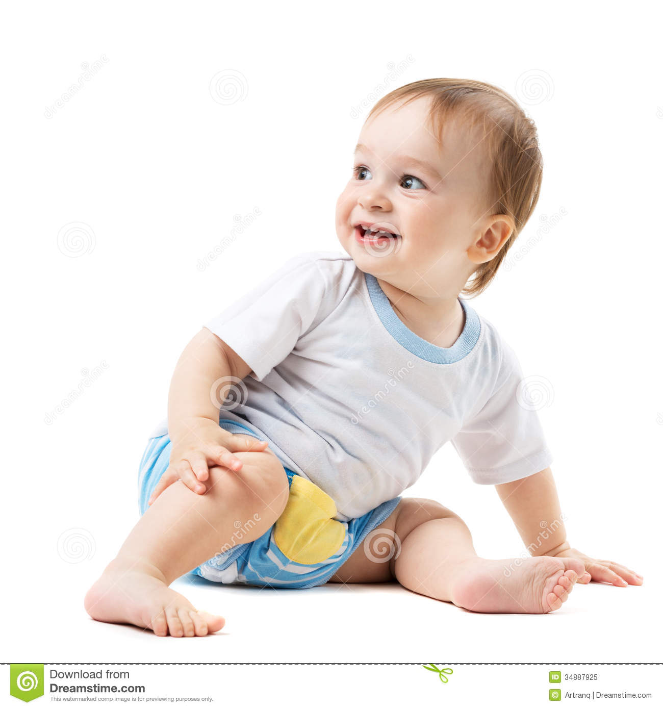 Baby Sitting And Looking Sideways Royalty Free Stock Photo ...