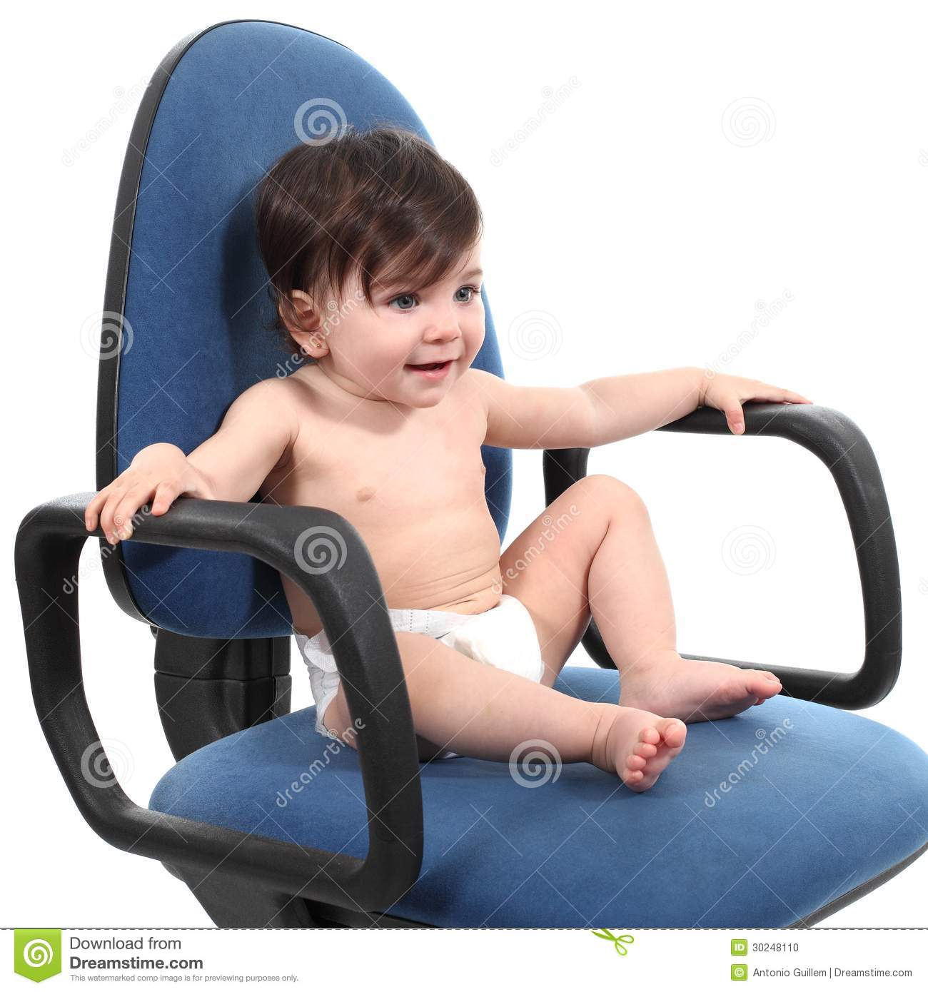 Super Baby Sitting On An Office Chair Stock Photo Image Of Blue Interior Design Ideas Apansoteloinfo