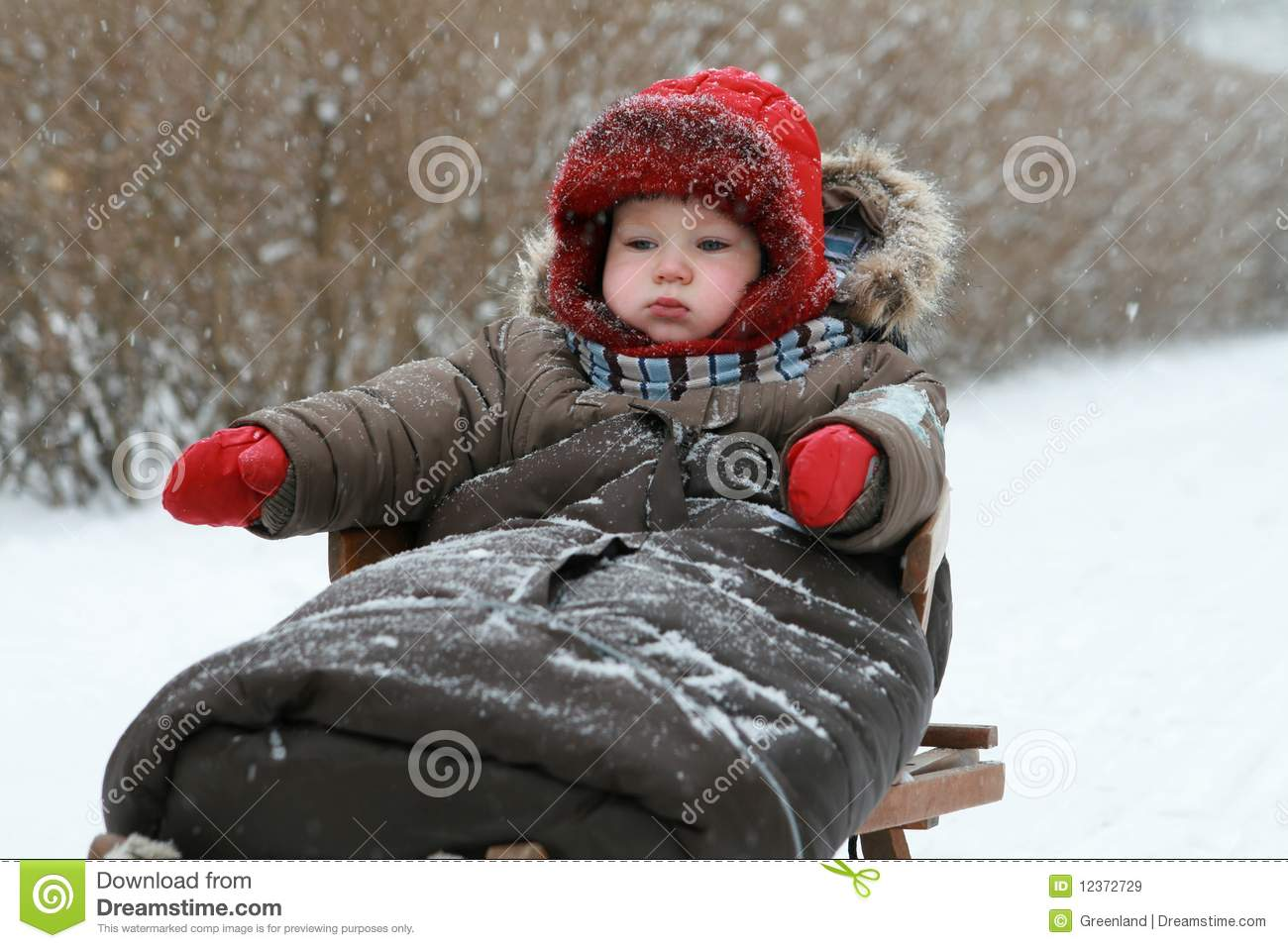 Baby On Sled Royalty Free Stock Images Image 12372729