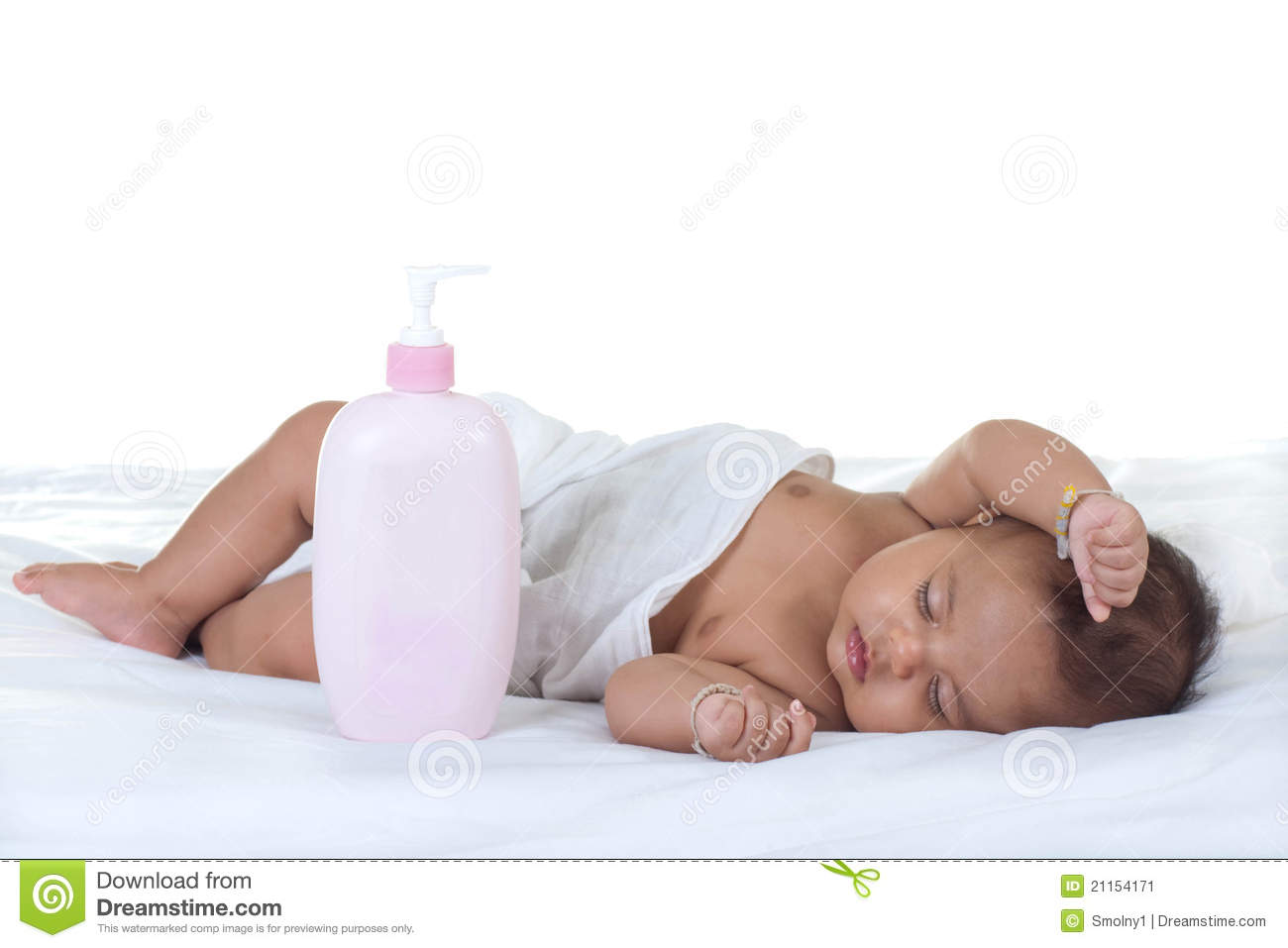 Baby sleep on a bed stock image image 21154171 for Sleeping bed