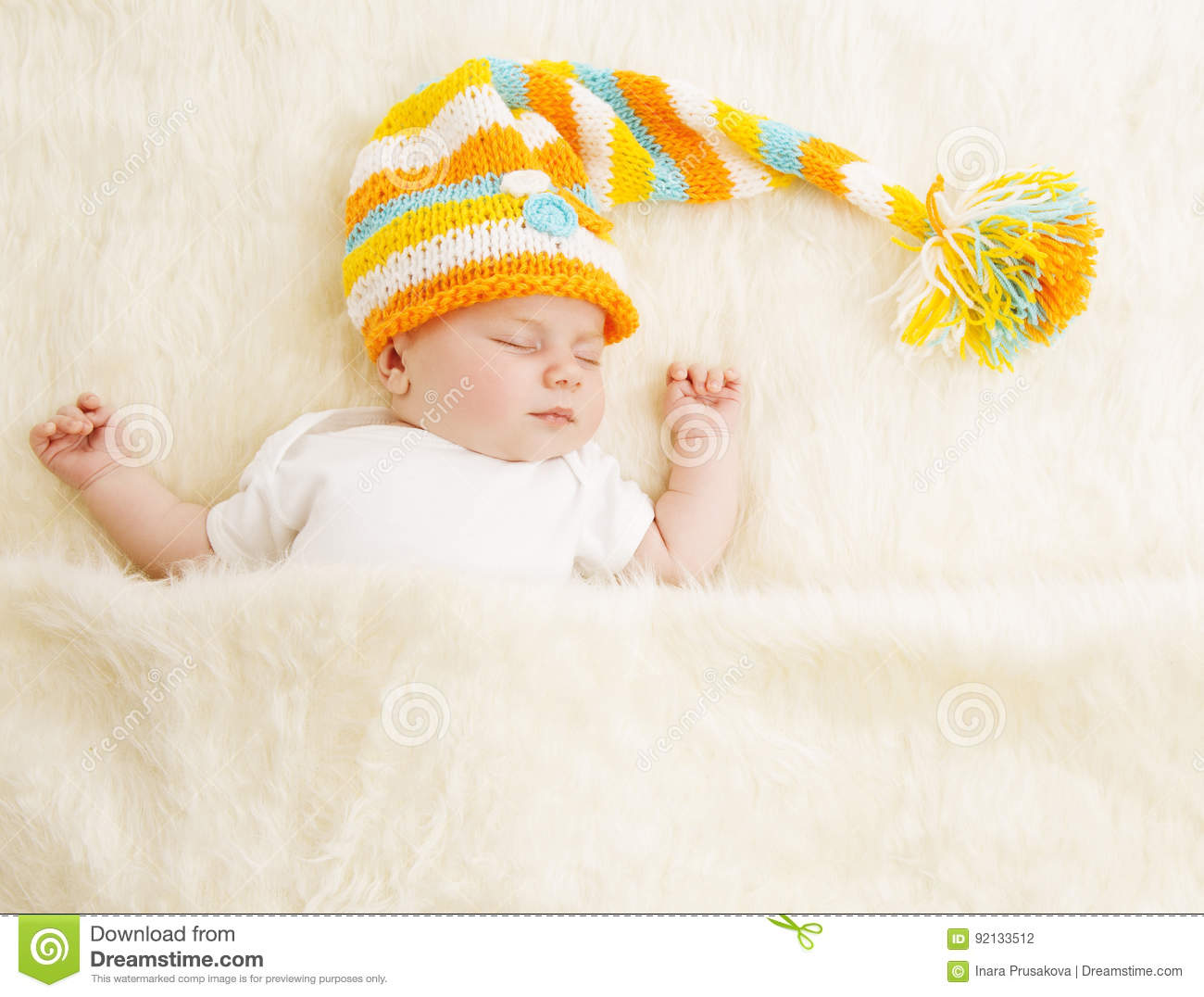 Baby Sleep in Hat, Sleeping Newborn Kid in Bed, Asleep New Born