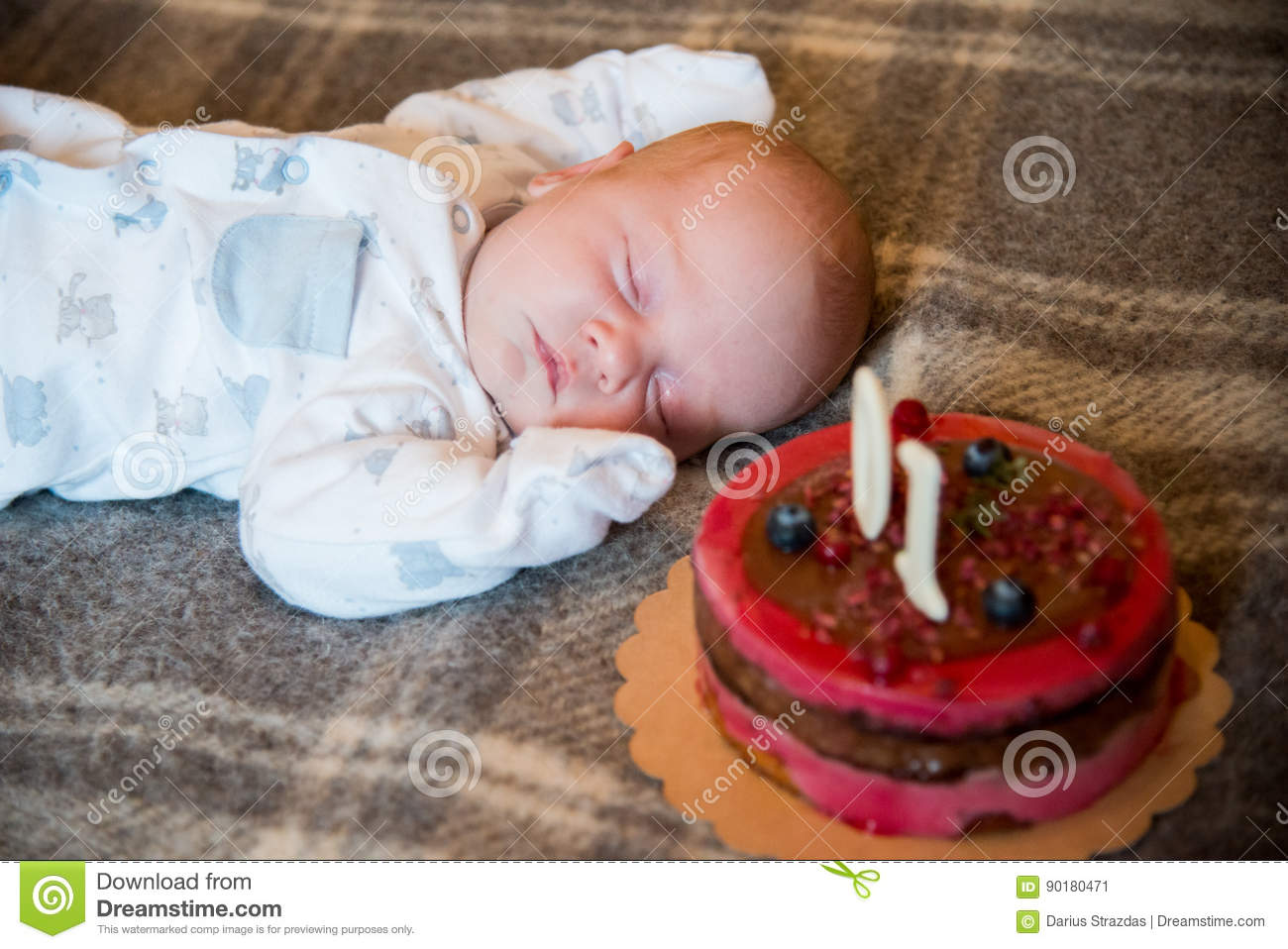 Baby Sleep Near His Cake Stock Image Image Of Closeup 90180471