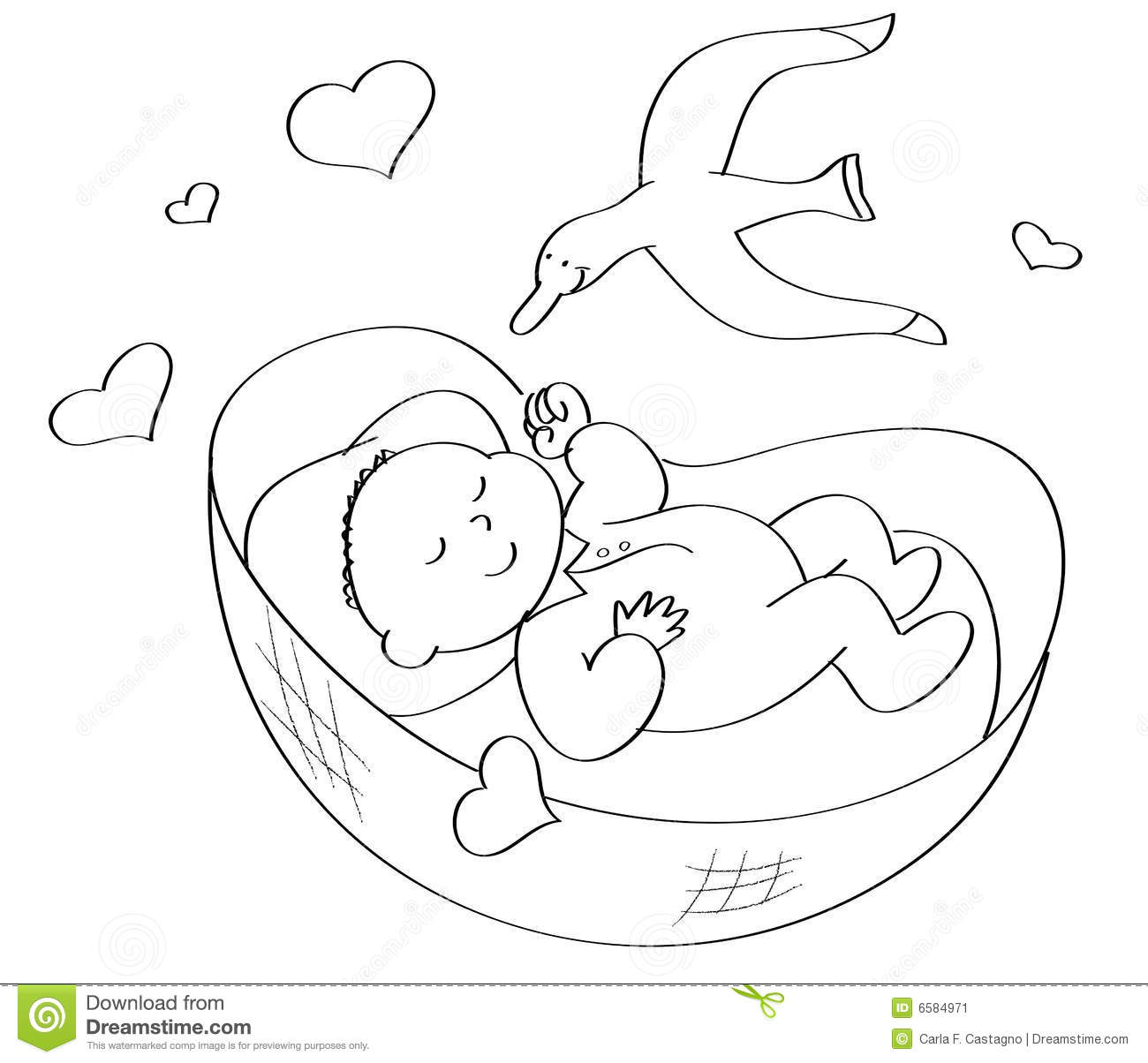 Coloring Baby sleeping stock vector. Illustration of love ...