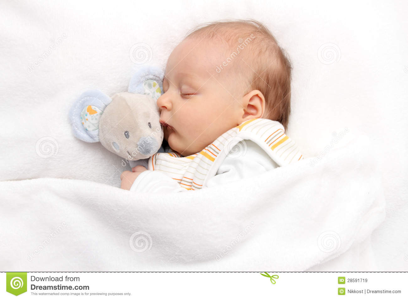 Baby Sleeping In Bed Royalty Free Stock Images - Image: 28591719