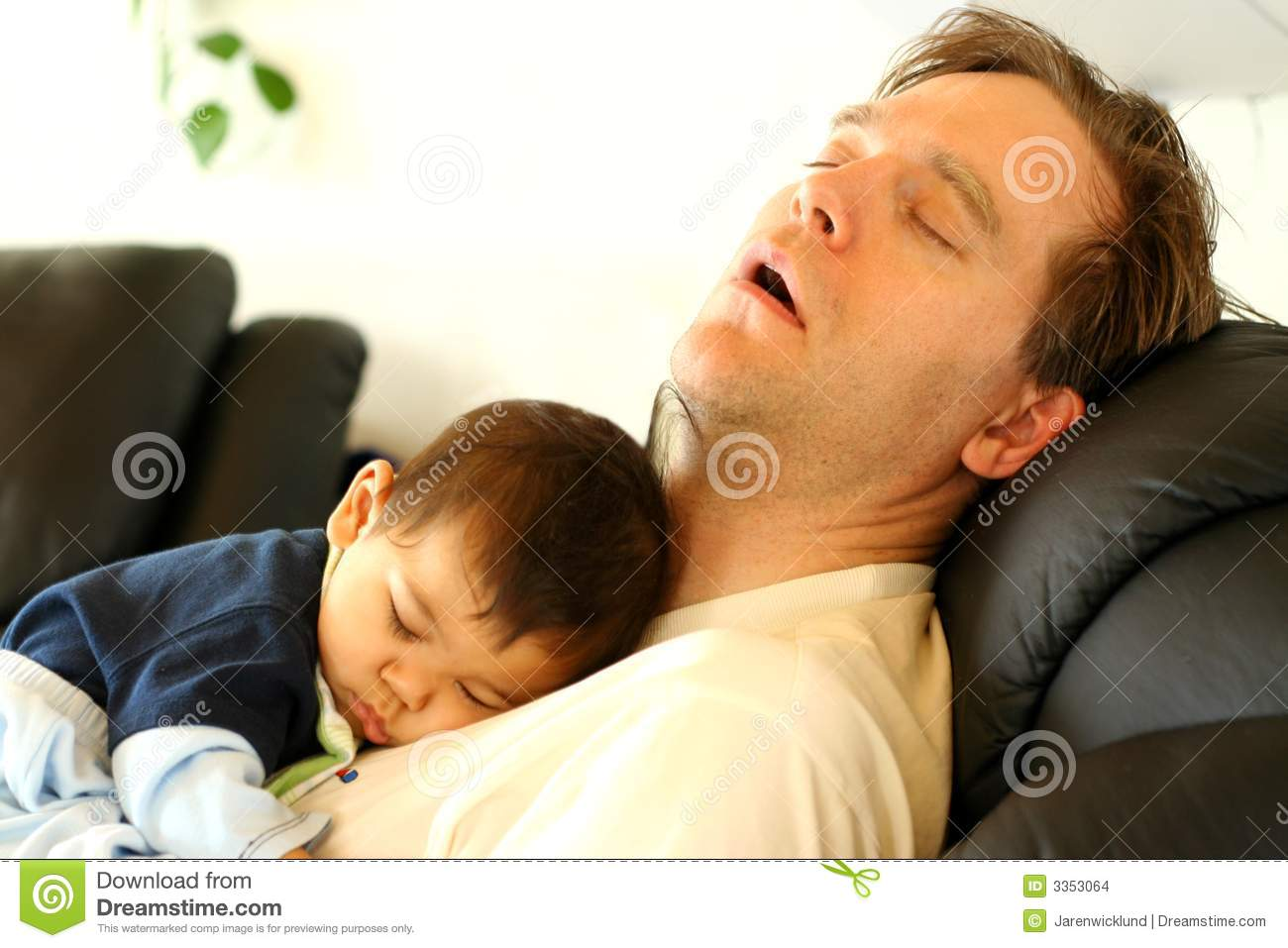 Baby Sleeping On Dad S Chest Stock Photo Image 3353064