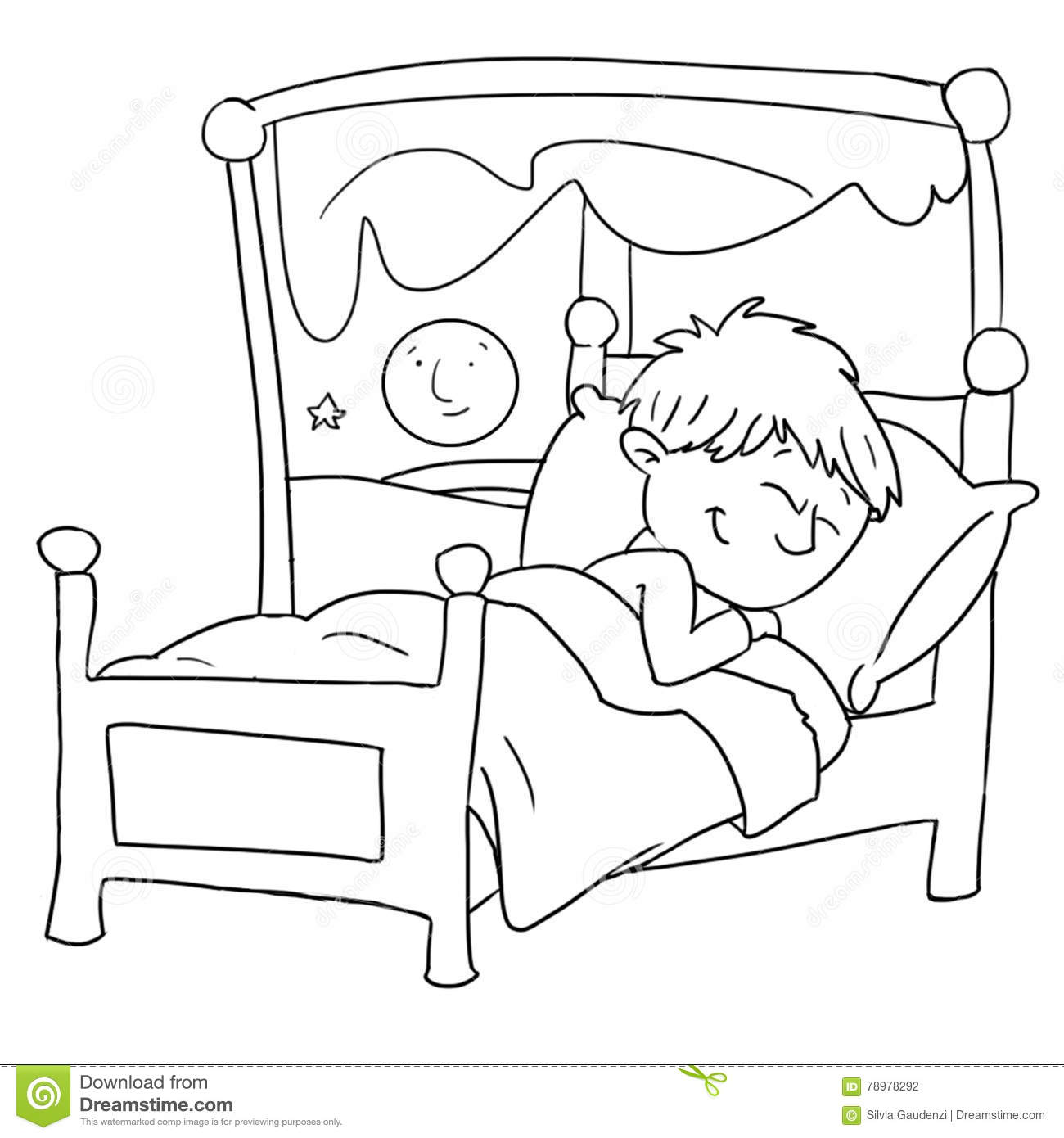 Black And White Baby Sleeping: The Baby Is Sleeping In Her Bed,chine Drawn By Color Stock