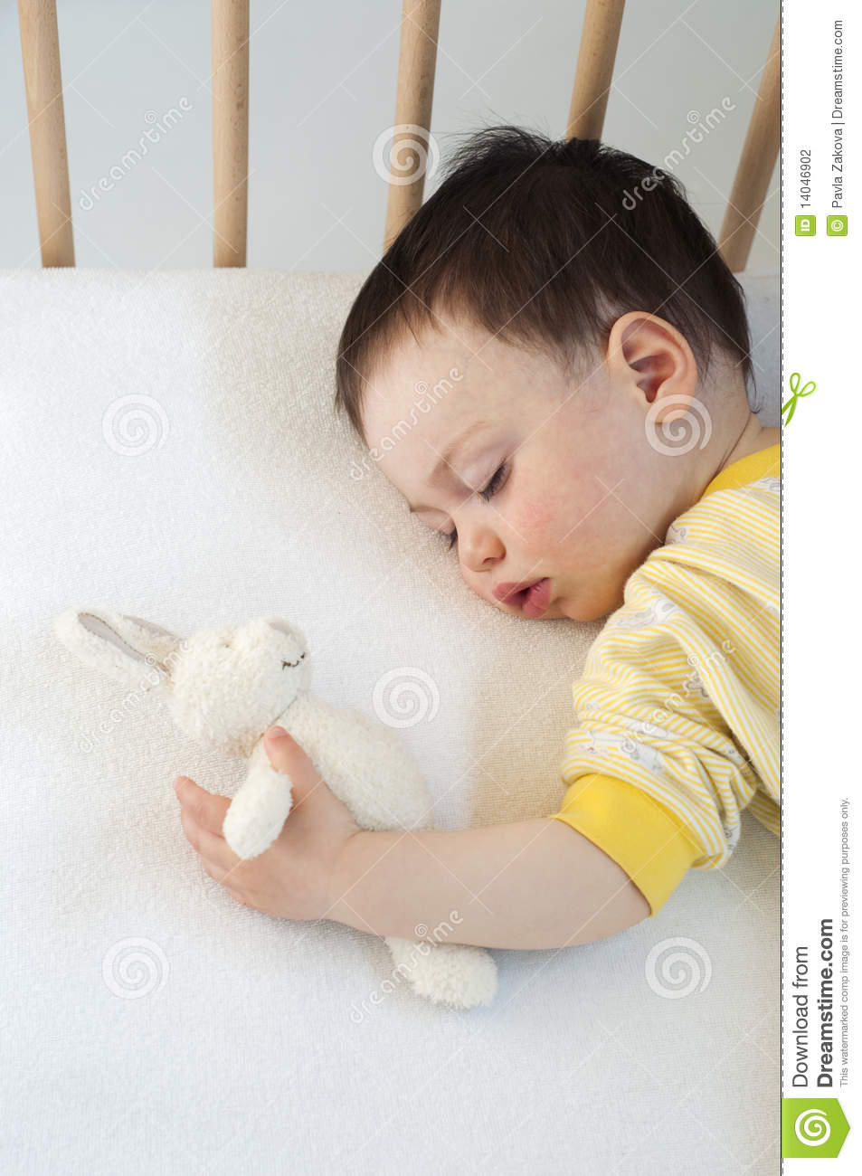 Baby Sleeping With A Soft Toy Stock Photo Image Of Girl