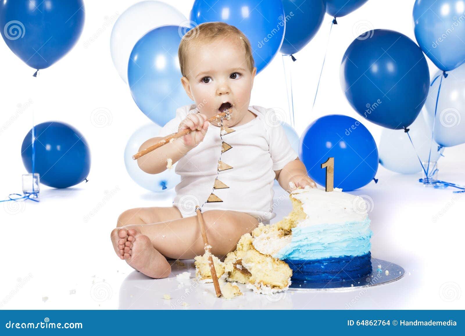 Baby Smashing Cake Stock Photo Image Of Background Close