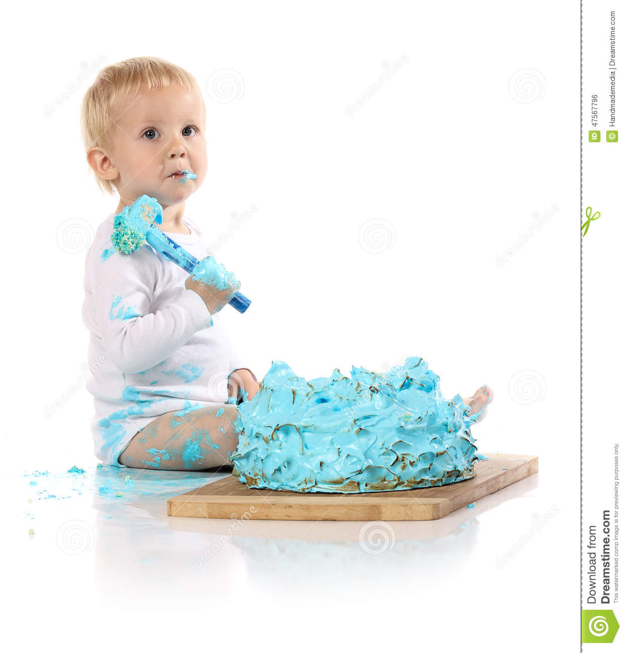 Baby Eating Cake First Birthday