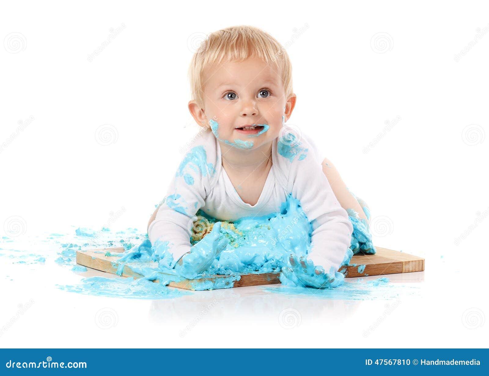 Baby Smashing Cake Stock Photo Image 47567810