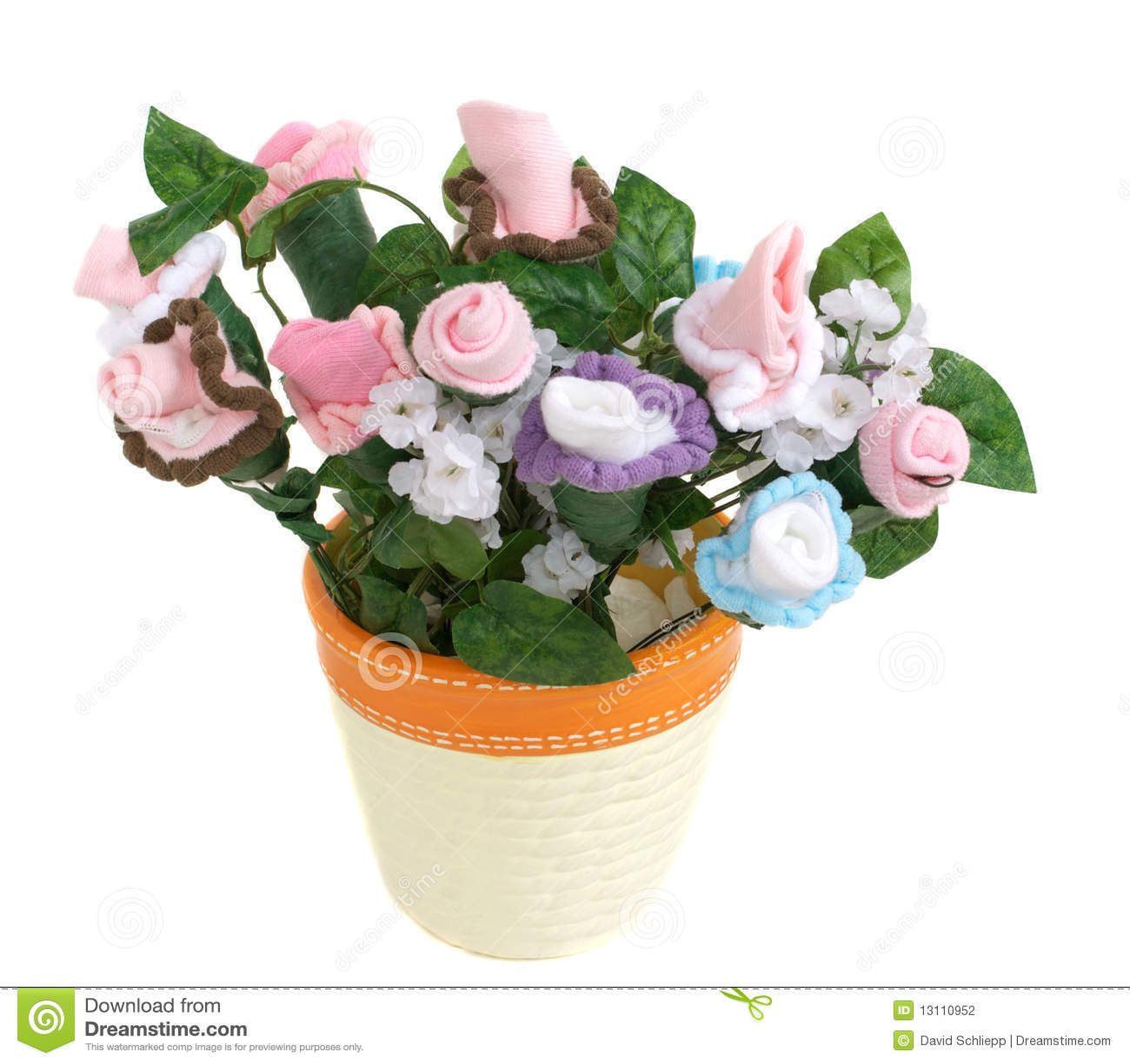 Baby Sock Flower Pot Stock Photo Image Of Grow Purple 13110952