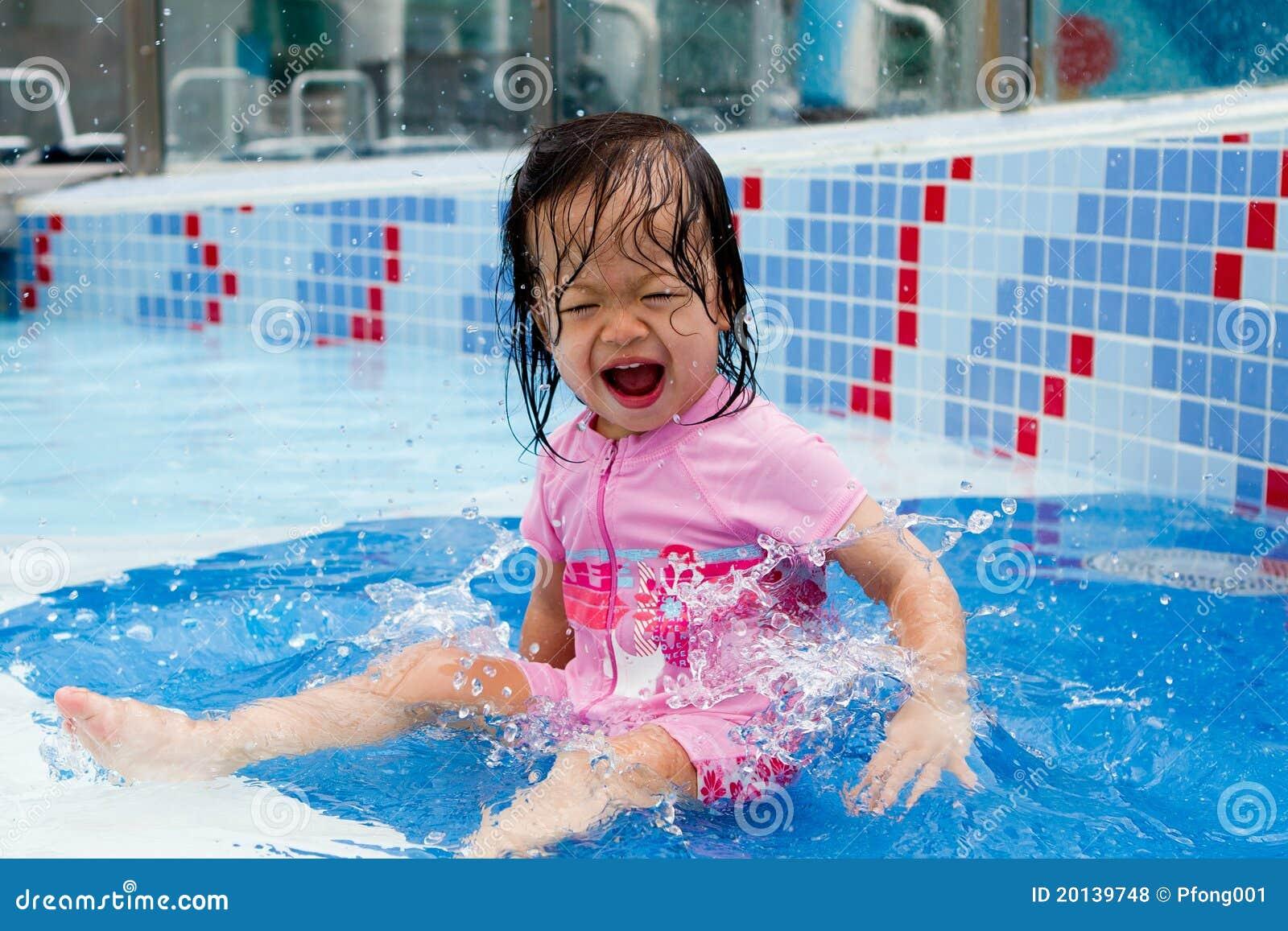 Baby Splashing At Pool Stock Photo Image Of Child Ethnic