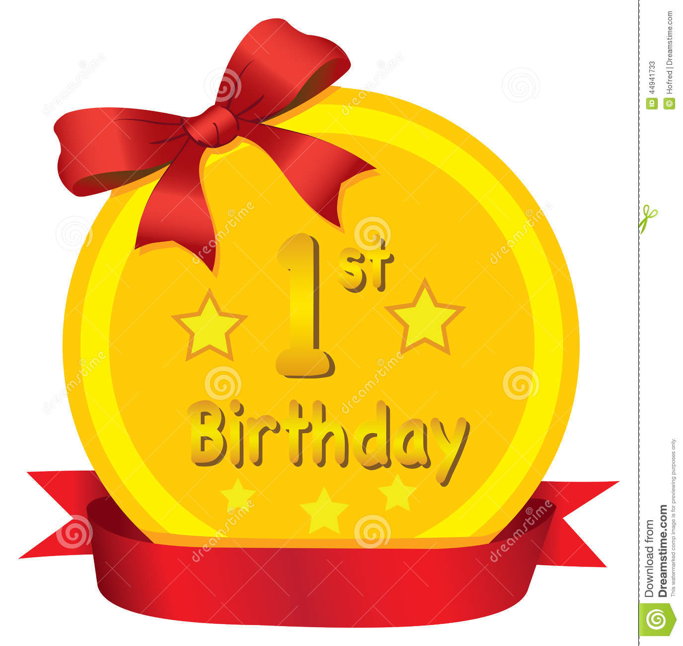 Baby 1st Birthday Gold Medal With Red Ribbon Vector
