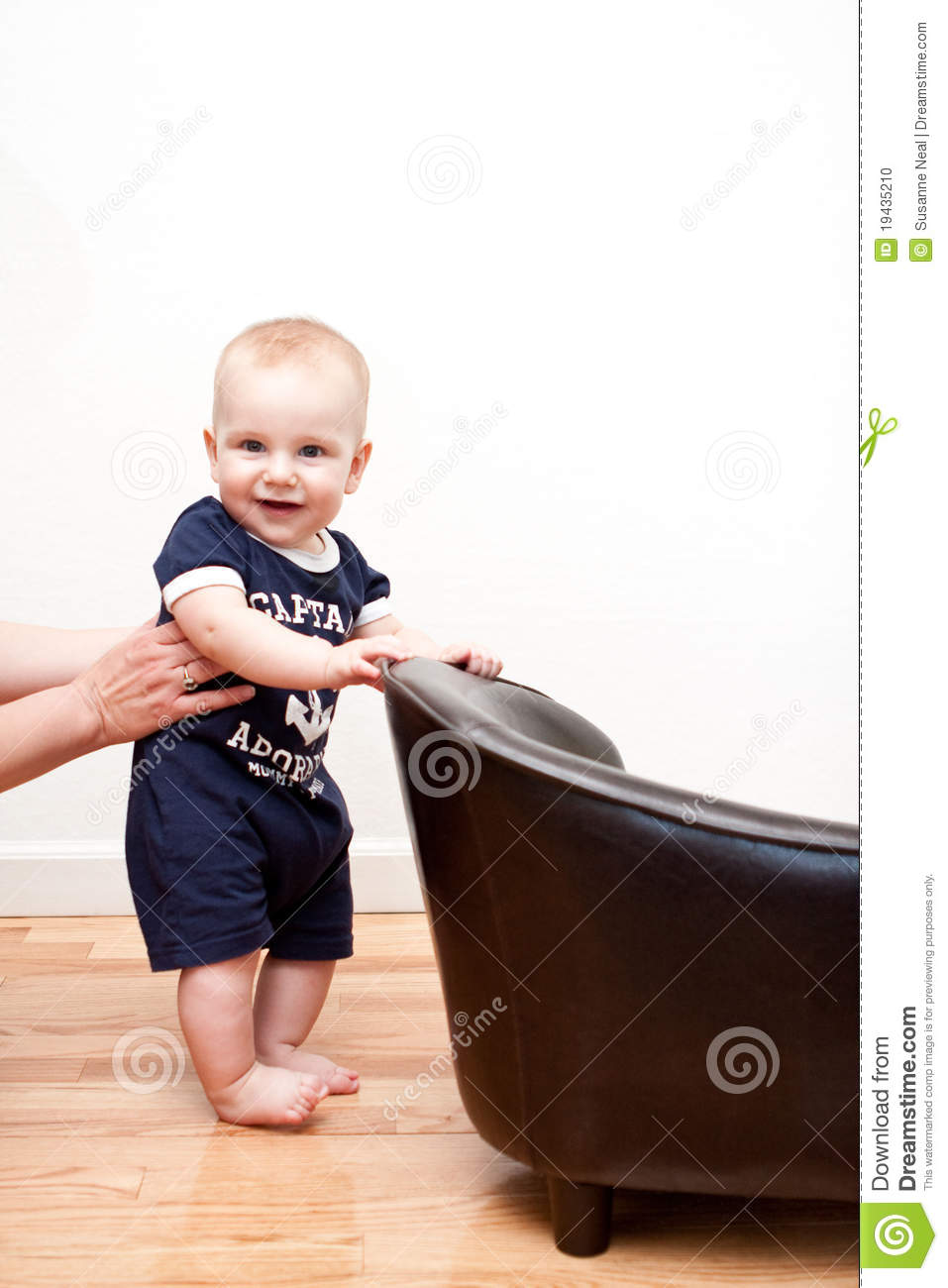 Baby Standing With Mom S Help Stock Photo Image Of White